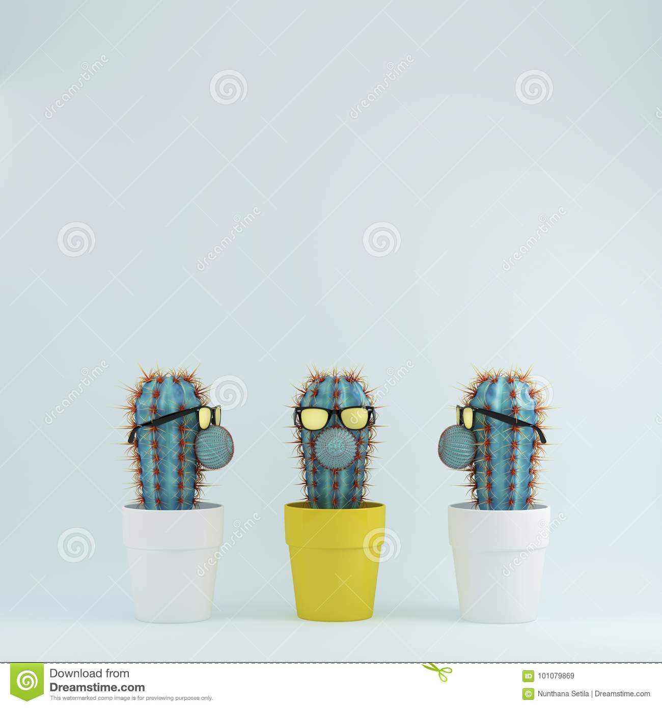 Cactus With Glasses In Yellow Flower Pot One Different Idea Cactus