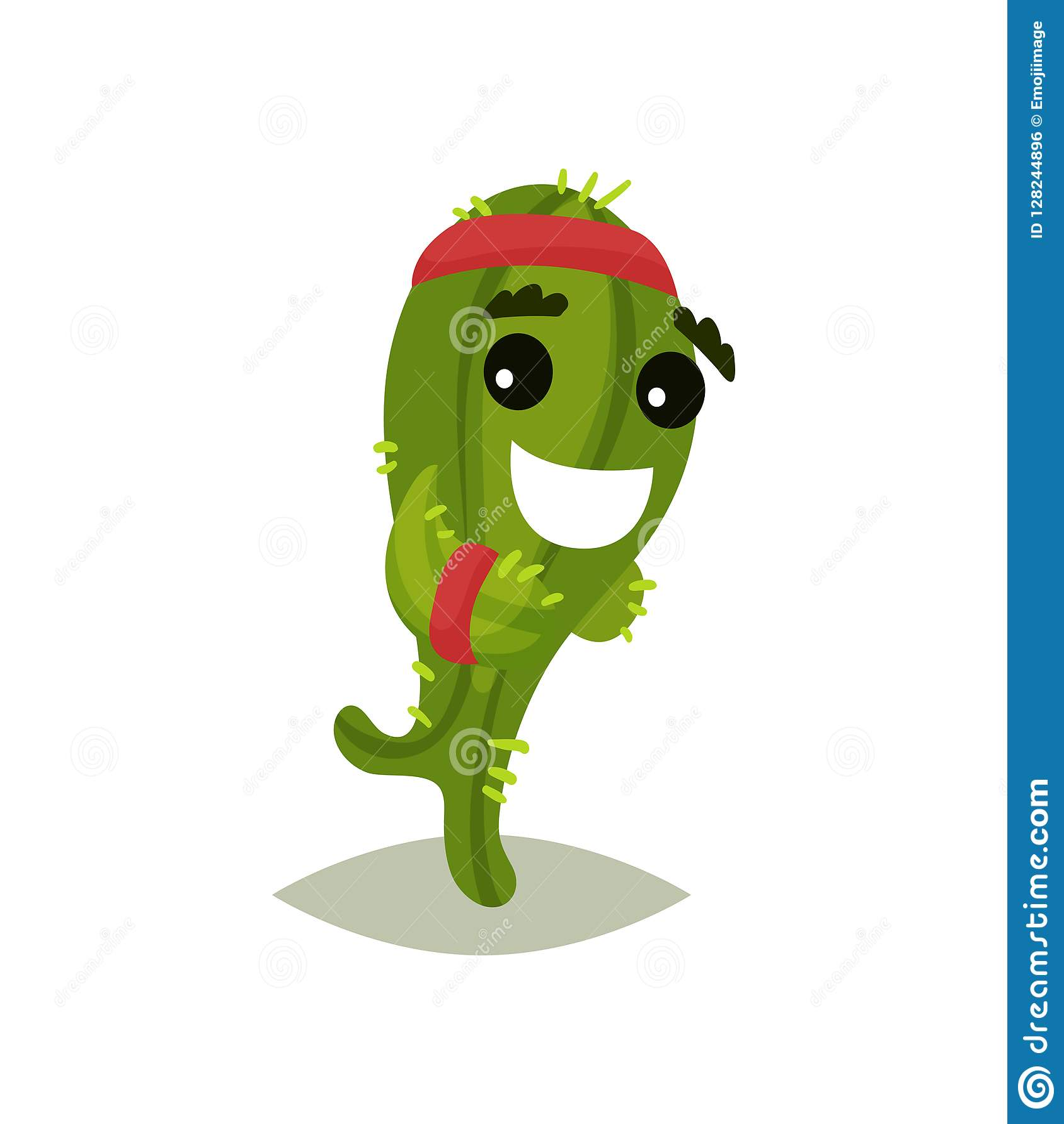 Cactus humanisé par vert fonctionnant avec le visage de sourire Usine succulente drôle avec le bandeau rouge Icône plate de vecte