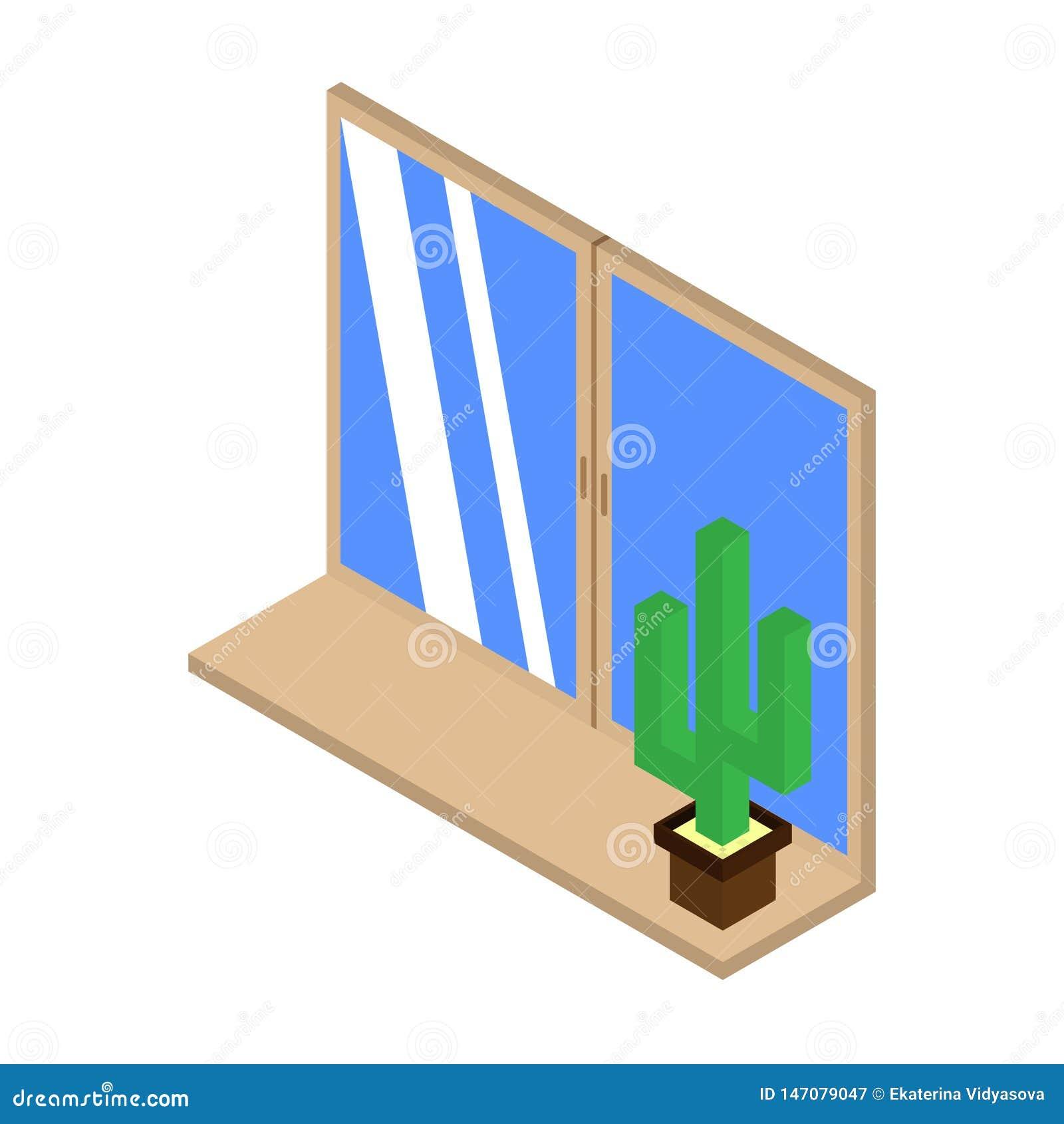 Cactus Icon On The Windowsill  Isometric Illustration Of A