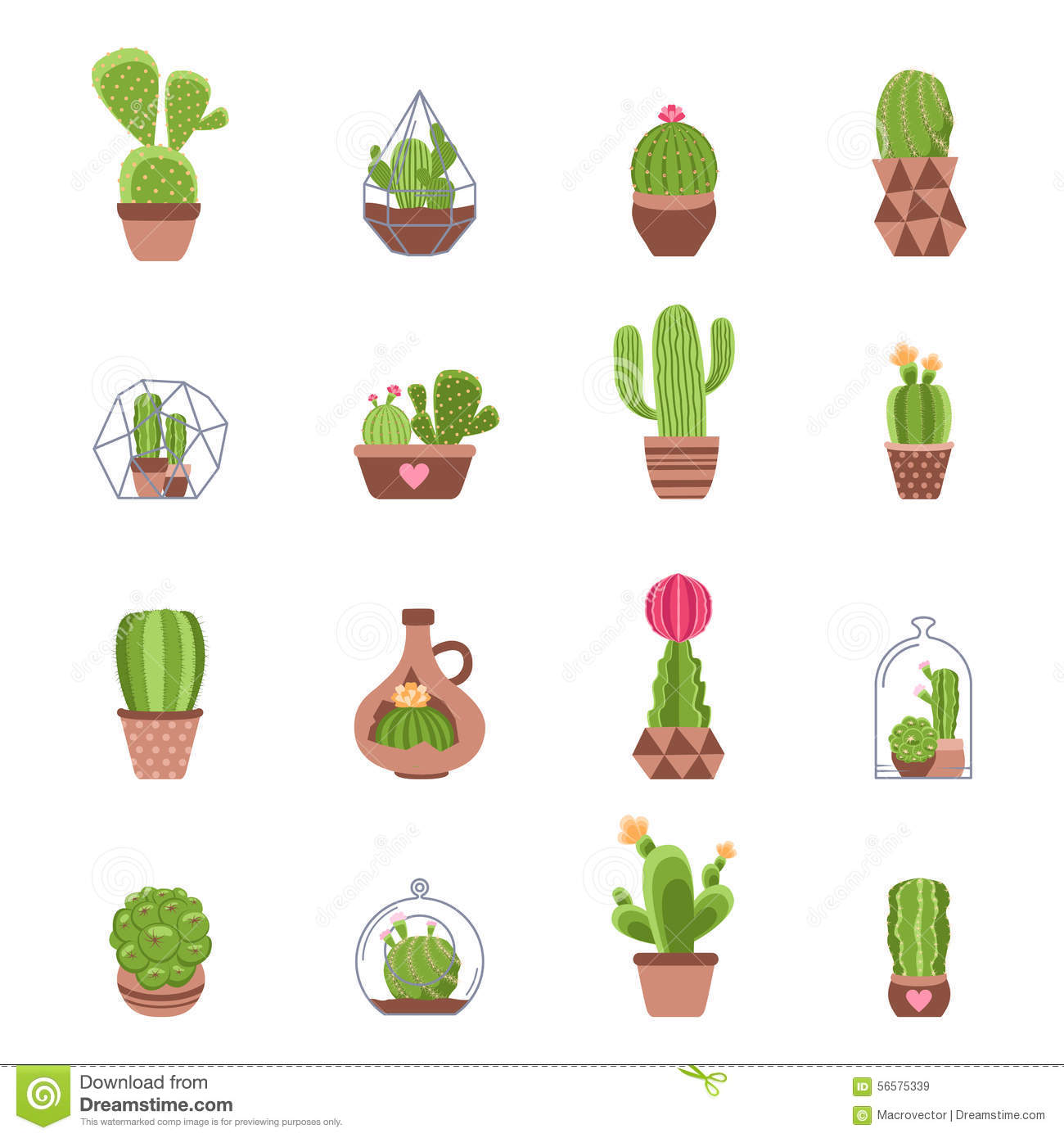 Cactus Icons Set Stock Vector Illustration Of Business