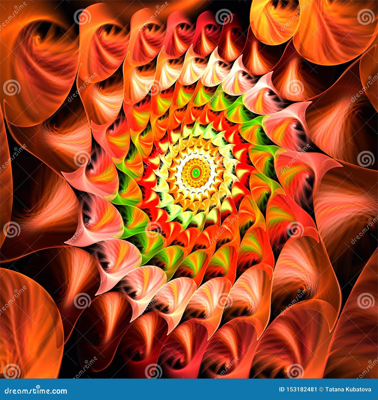 Cactus rojo del fractal del arte de la estrella abstracta de la Navidad