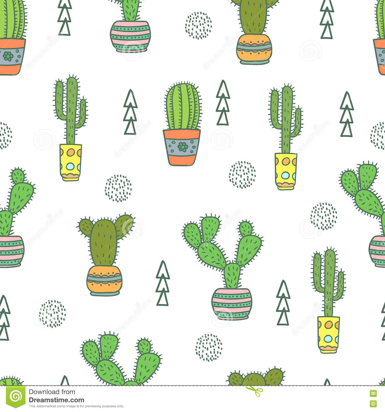 Cactus Seamless Pattern. Doodle Colorful Flowers In Pots