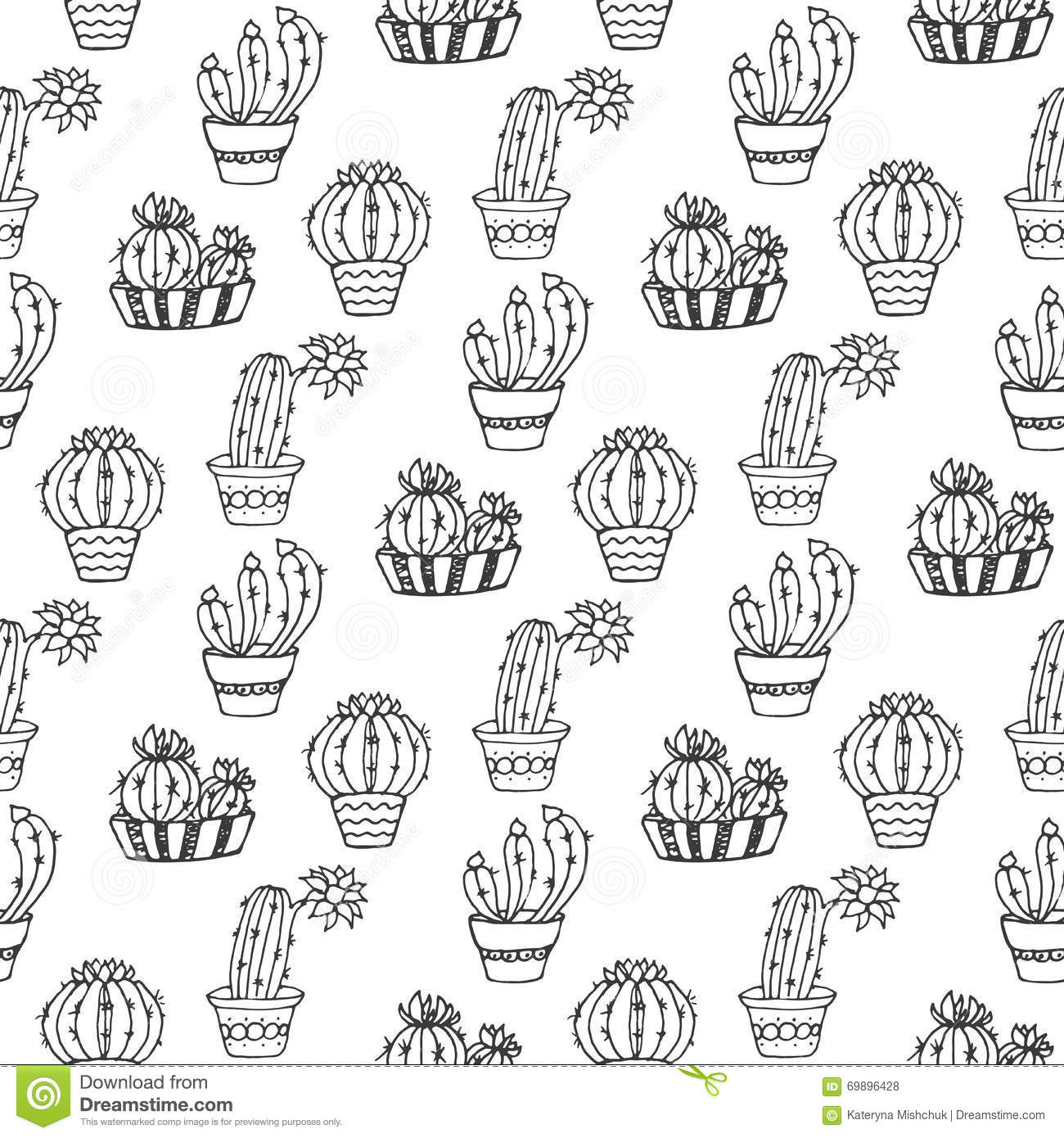 Cactus Seamless Pattern Illustration. Vector Succulent And Cacti ...