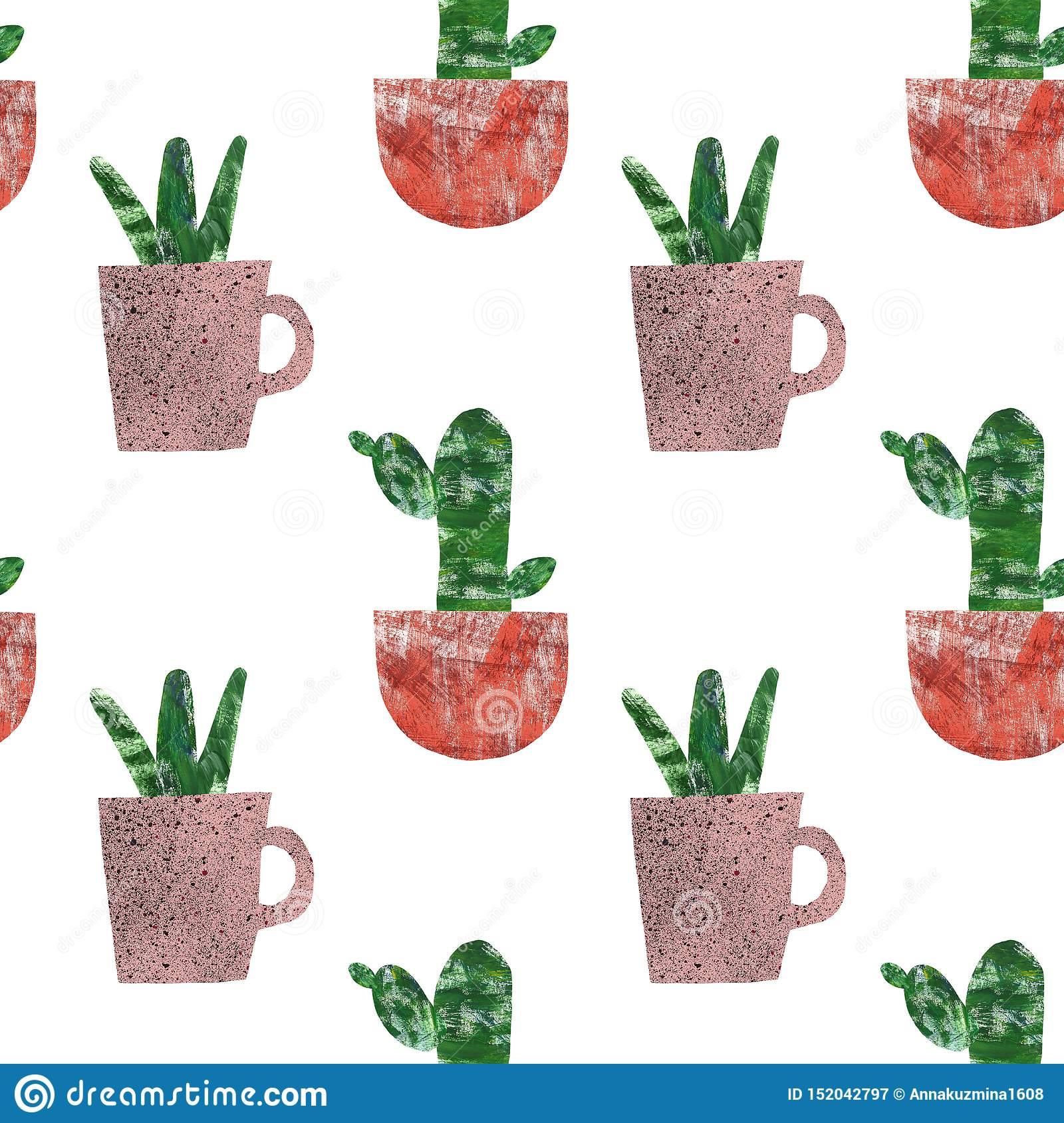Cactus Seamless Pattern Summer Botanical Print With Cute Cacti In Flower Pots On White Background Collage Hand Painted Texture Stock Illustration Illustration Of Green Flora 152042797