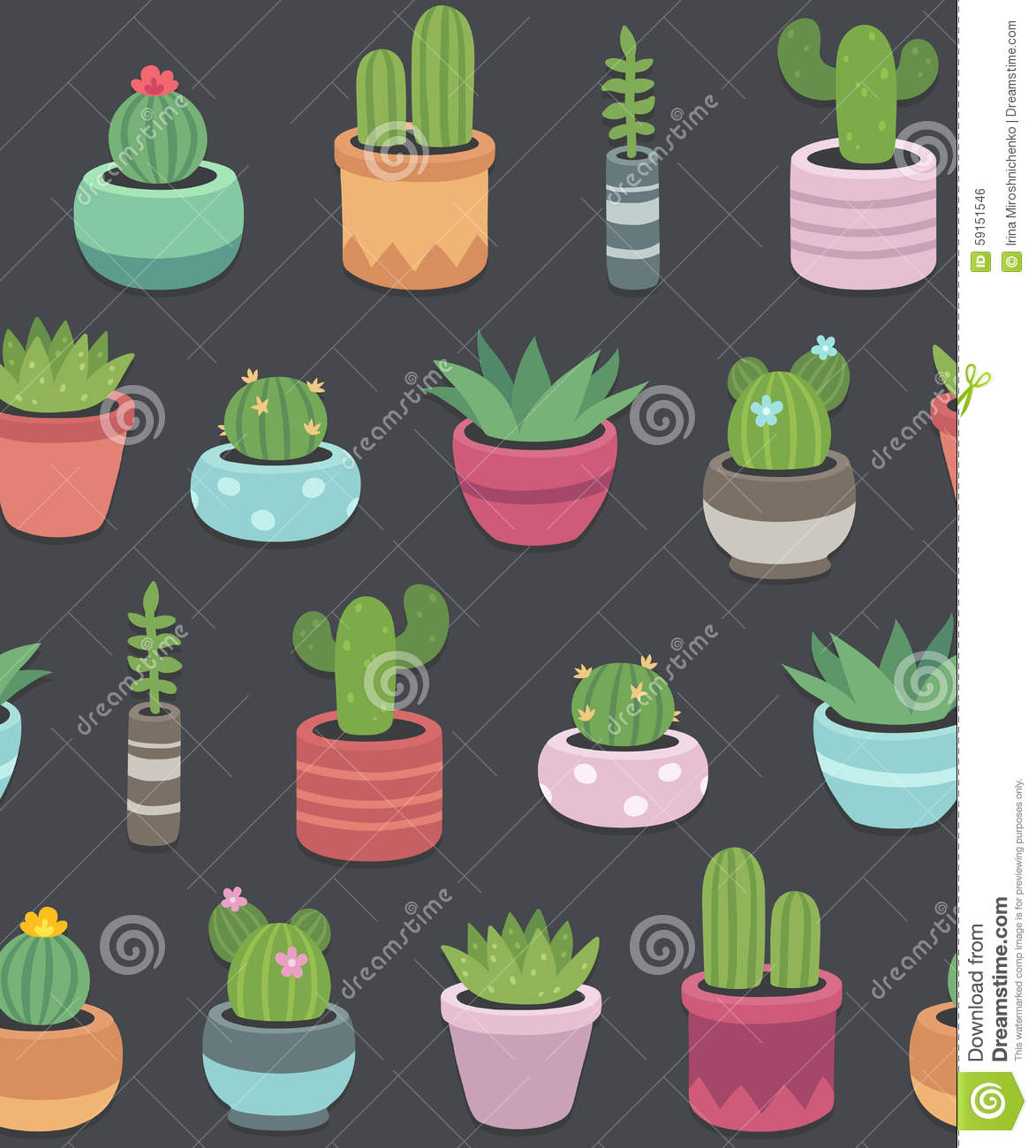 Cactus And Succulent Plants Seamless Pattern Stock Vector