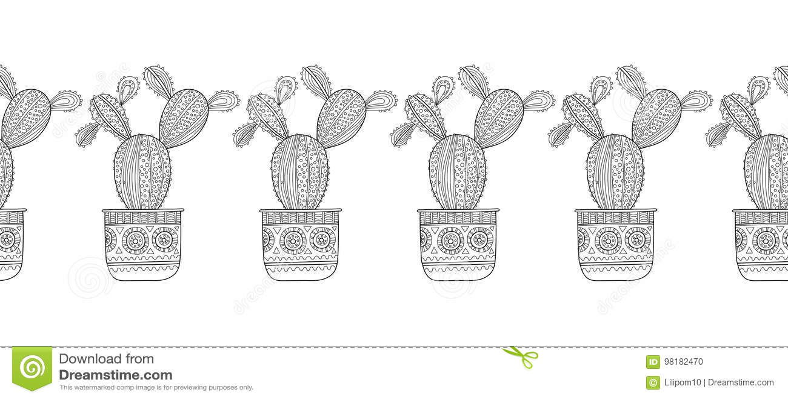 Cactus Succulents Ejemplo Blanco Y Negro Para Los Libros De