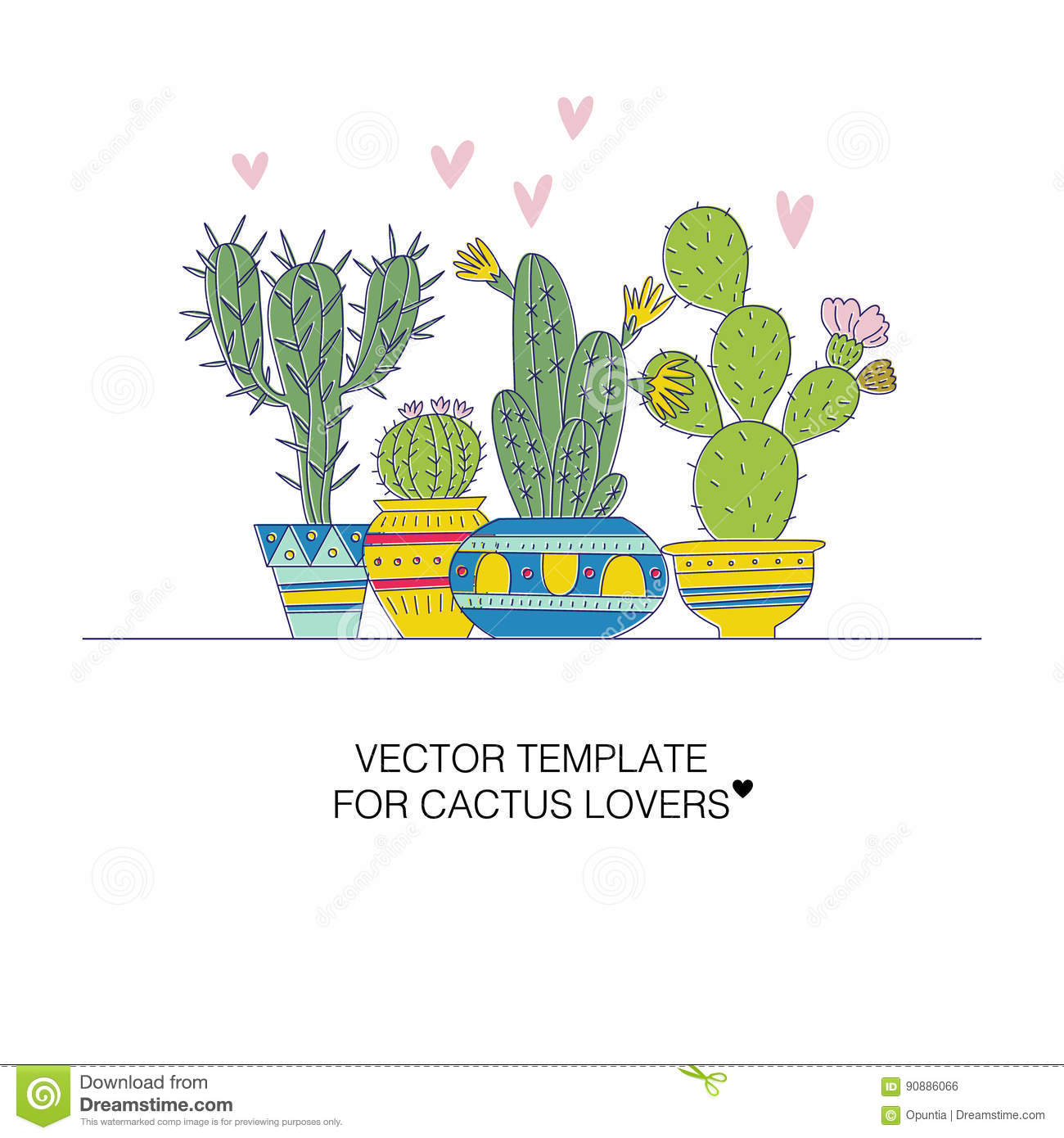 cactus templates stock vector illustration of botany 90886066