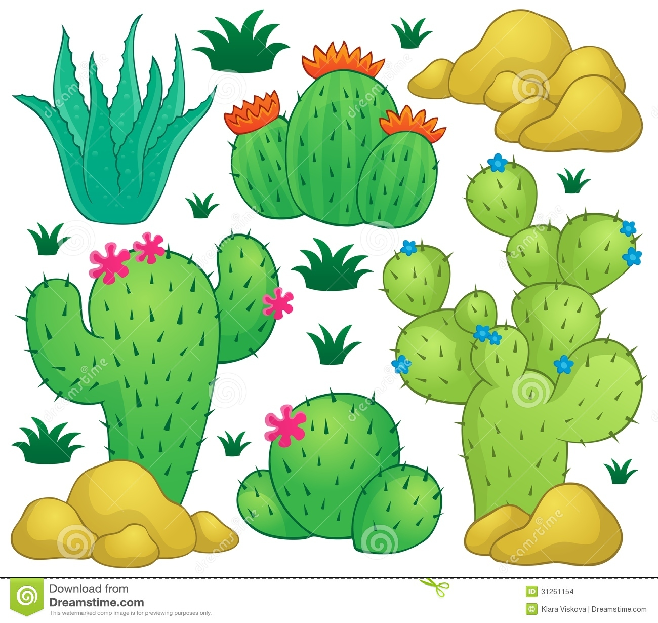Cactus Theme Image 1 Stock Vector. Image Of Cartoon, Bloom