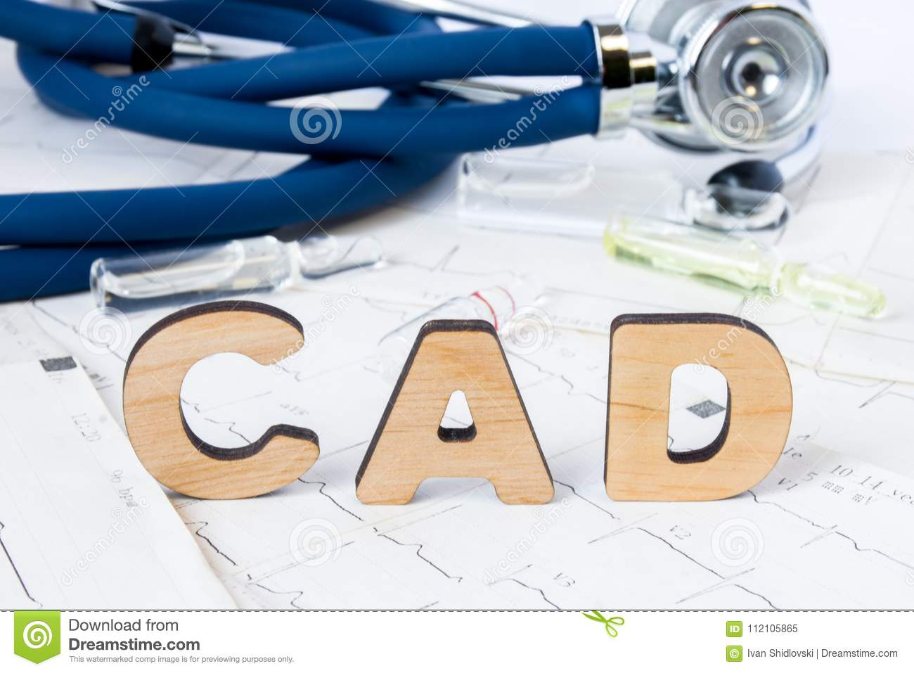 CAD Acronym or abbreviation to medical concept or diagnosis of coronary artery disease - common type of heart disease. Word CAD le