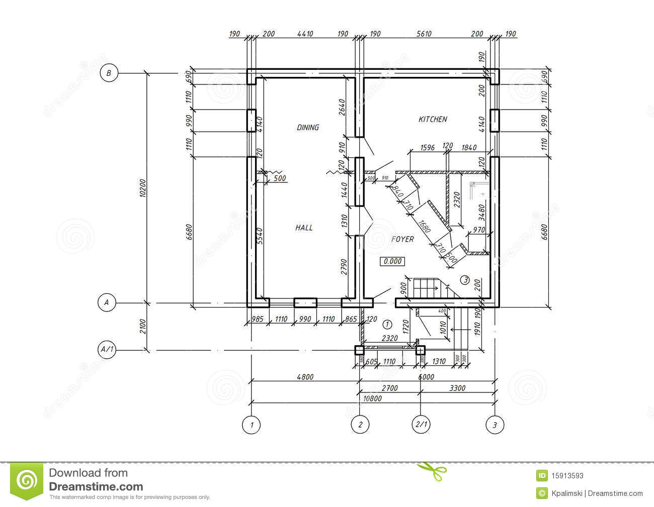 Cad architectural plan blueprint stock illustration for Architecture design blueprint