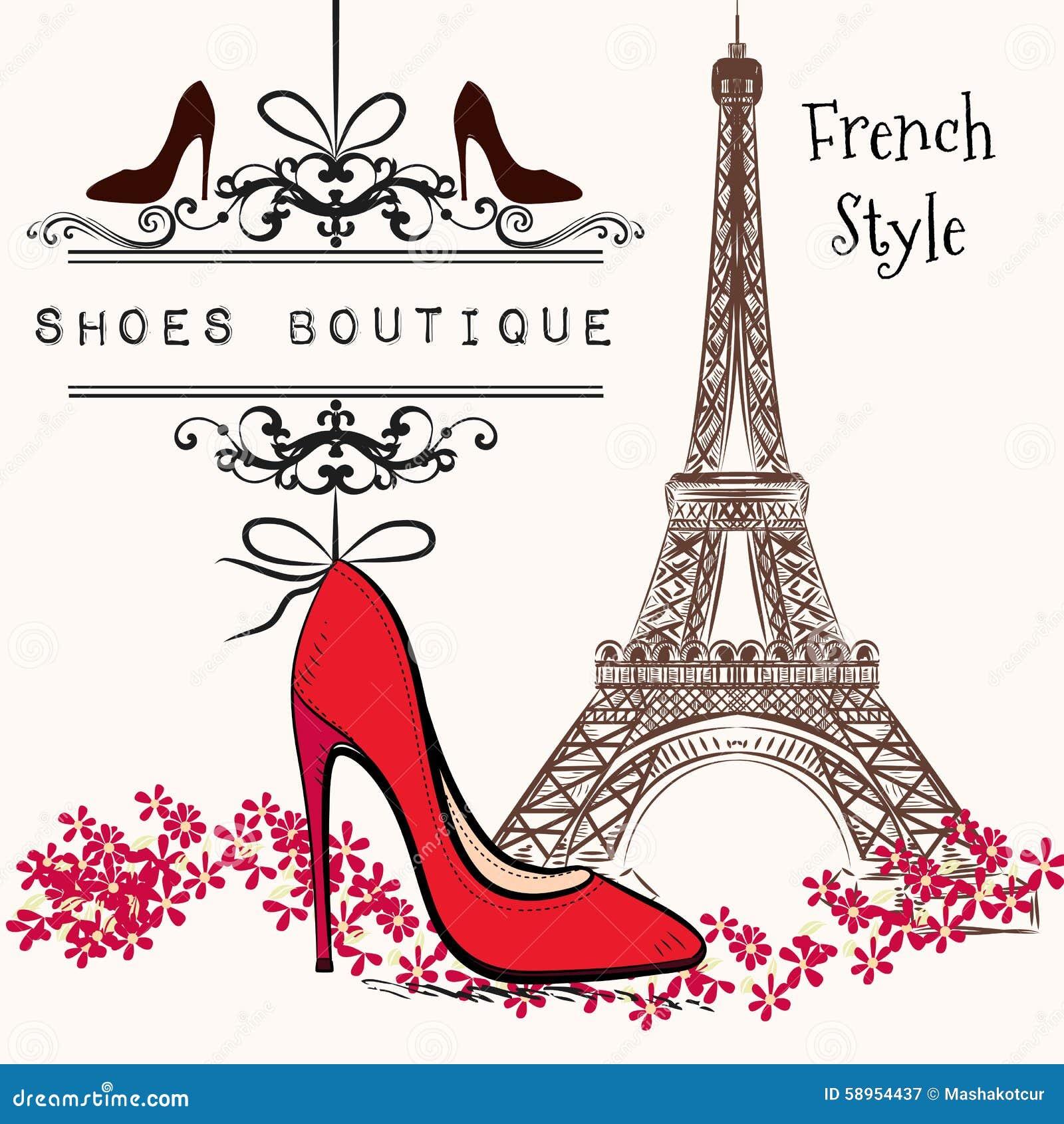 Ca da roja del zapato del ejemplo del boutique lindo de for Un boutique