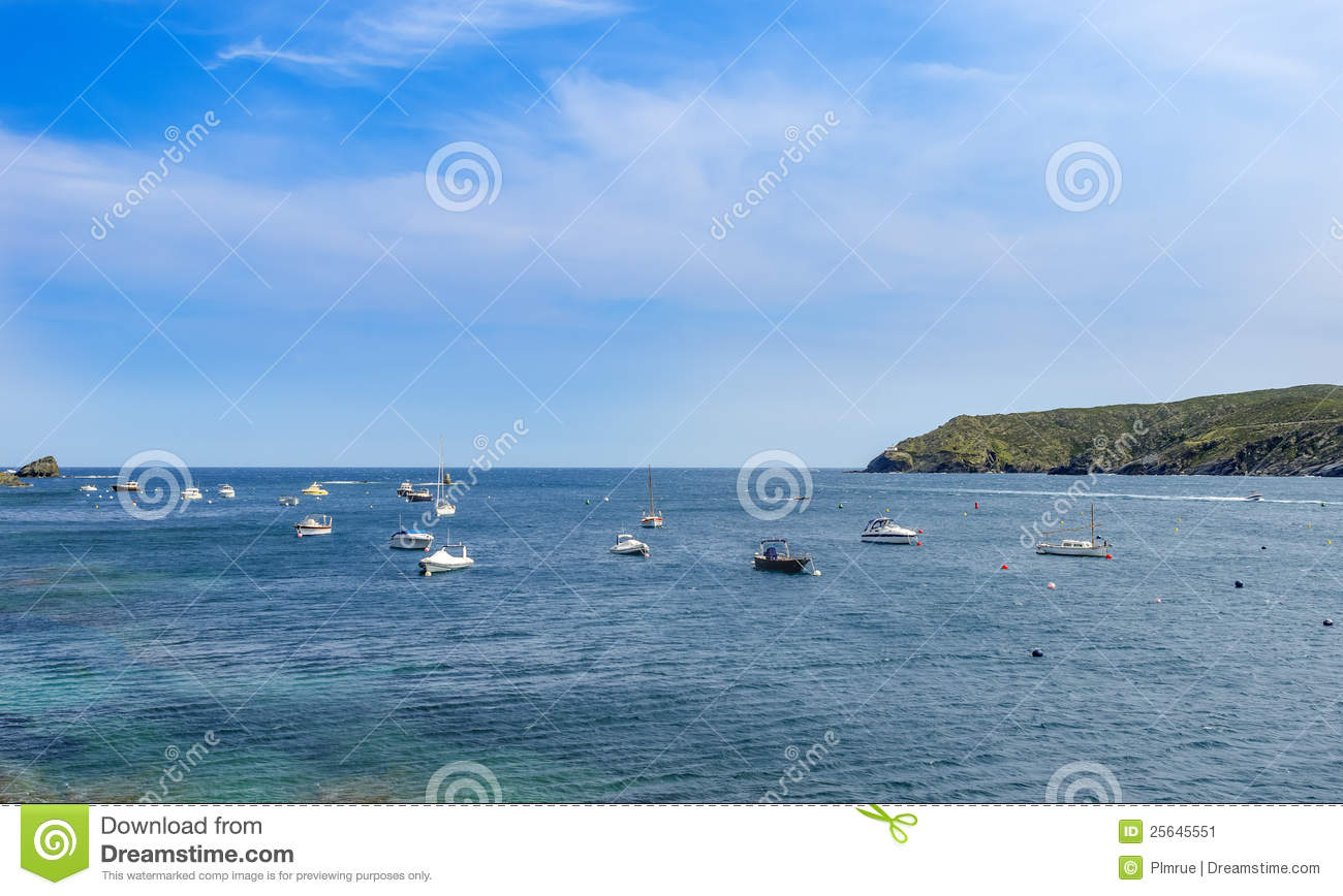 Download Blue sea and boats stock image. Image of seascape, summer - 25645551