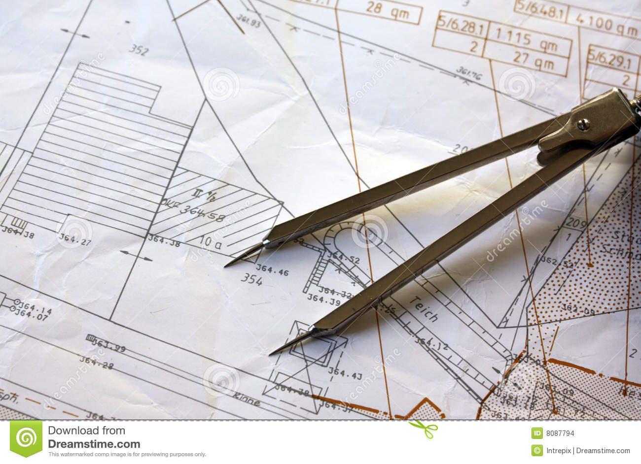 Cadastral Surveying And Mapping : Cadastre map stock photo image of technology sketch