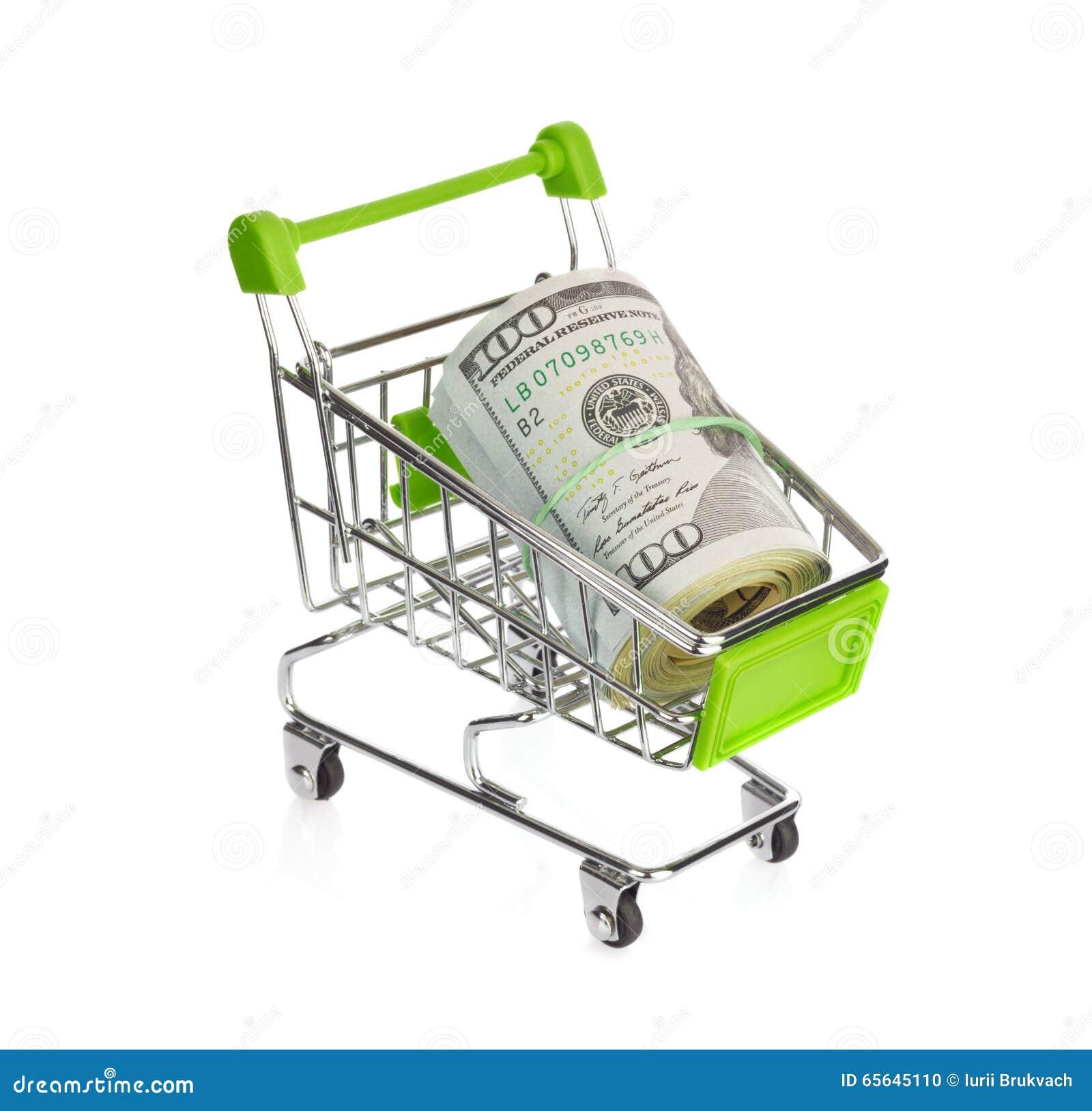 Caddie avec des dollars