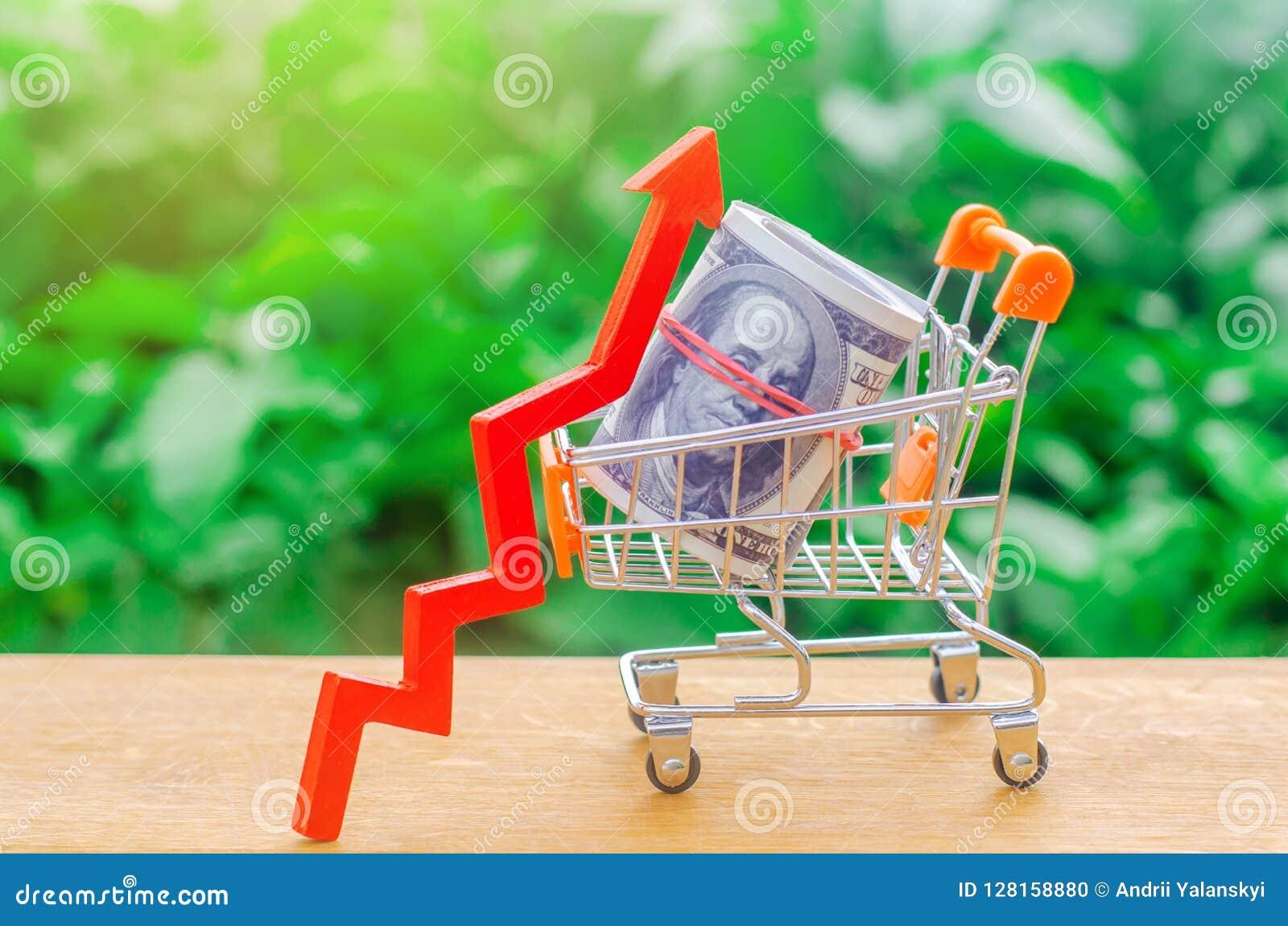 Caddie avec l argent et la flèche  concept de croissance de pouvoir d achat Demande croissante en prêts bon marché ou prêts à cou