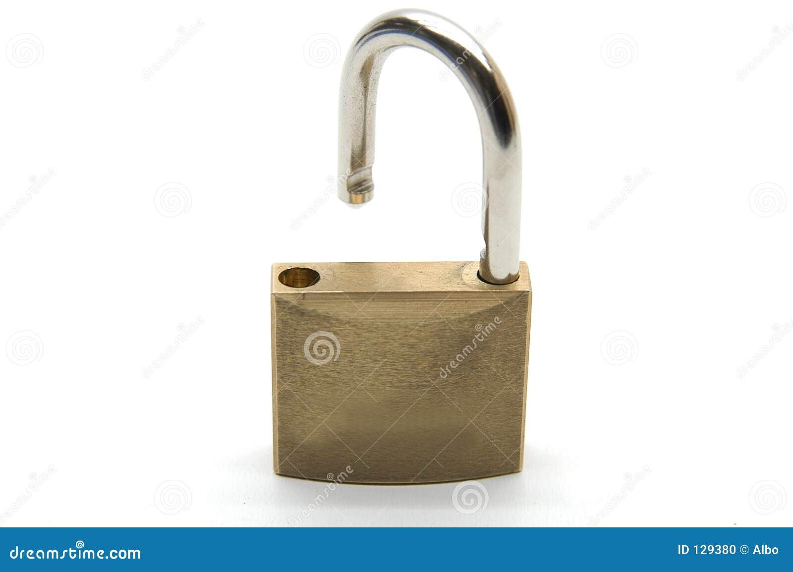 Cadeado aberto metade