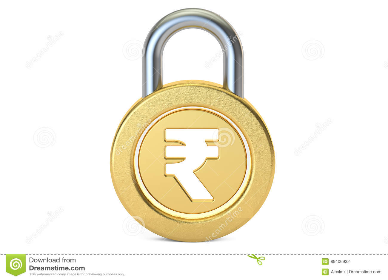Cadeado da rupia, rendição 3D