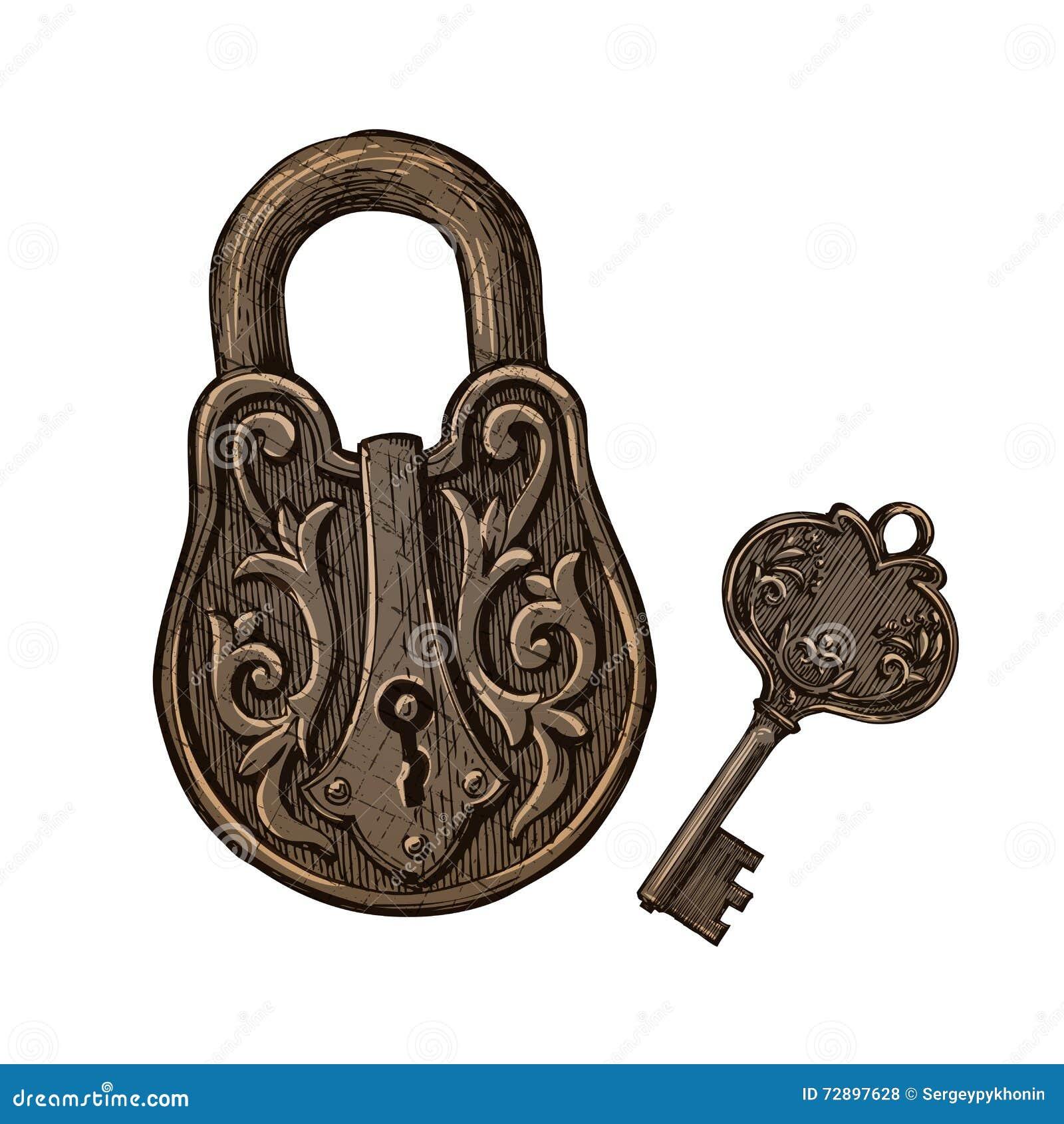 Cadeado E Chave Do Vintage Segredo Ou Mistério Ilustração Do