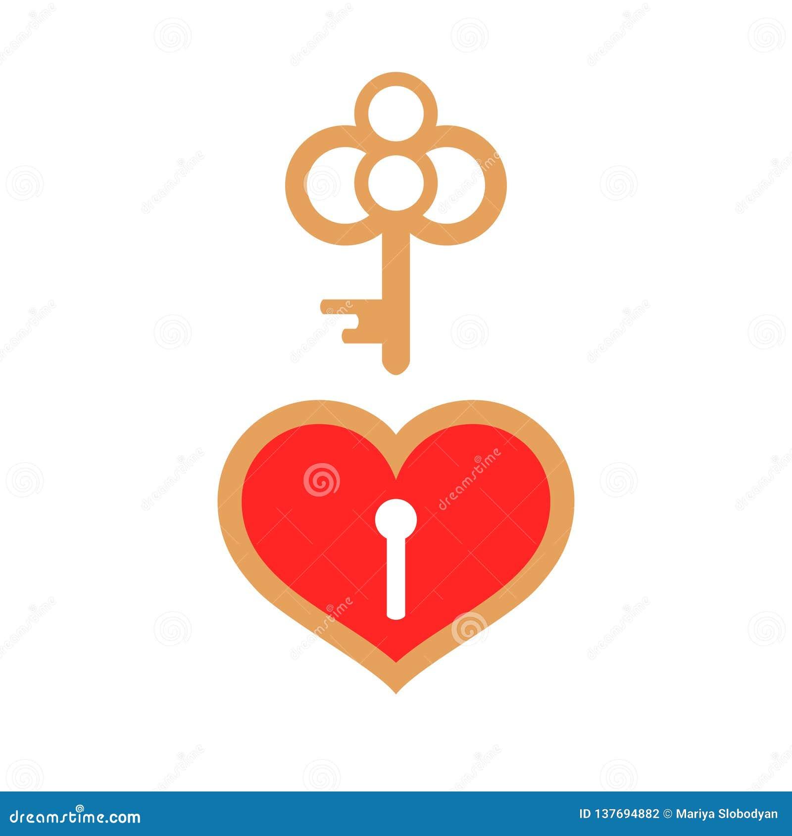 Cadeado Vermelho Do Coração E Chave Dourada Ilustração Stock