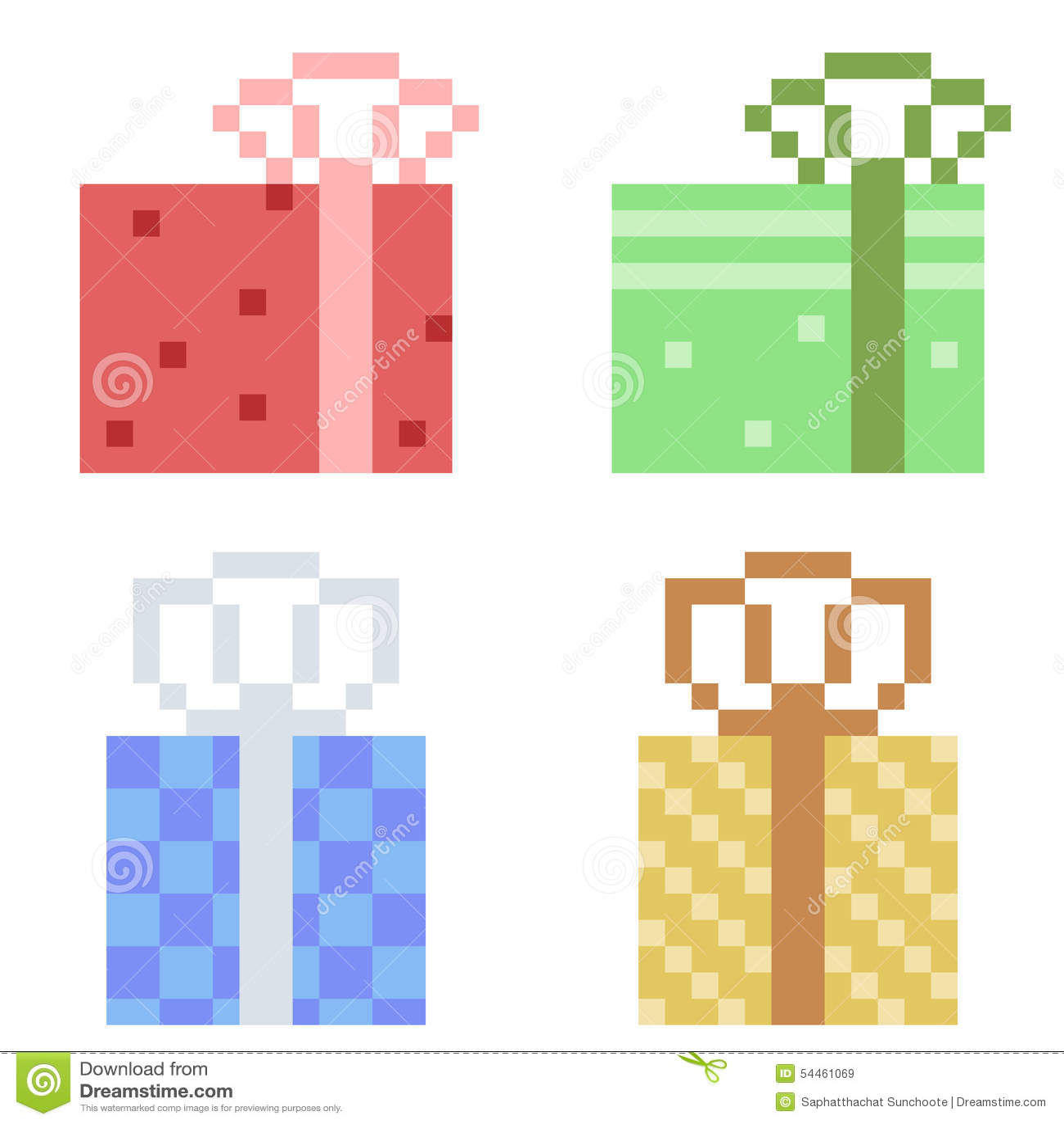 Pixel Art Noel Cadeau.Cadeau D Icône D Art De Pixel D Illustration Illustration De