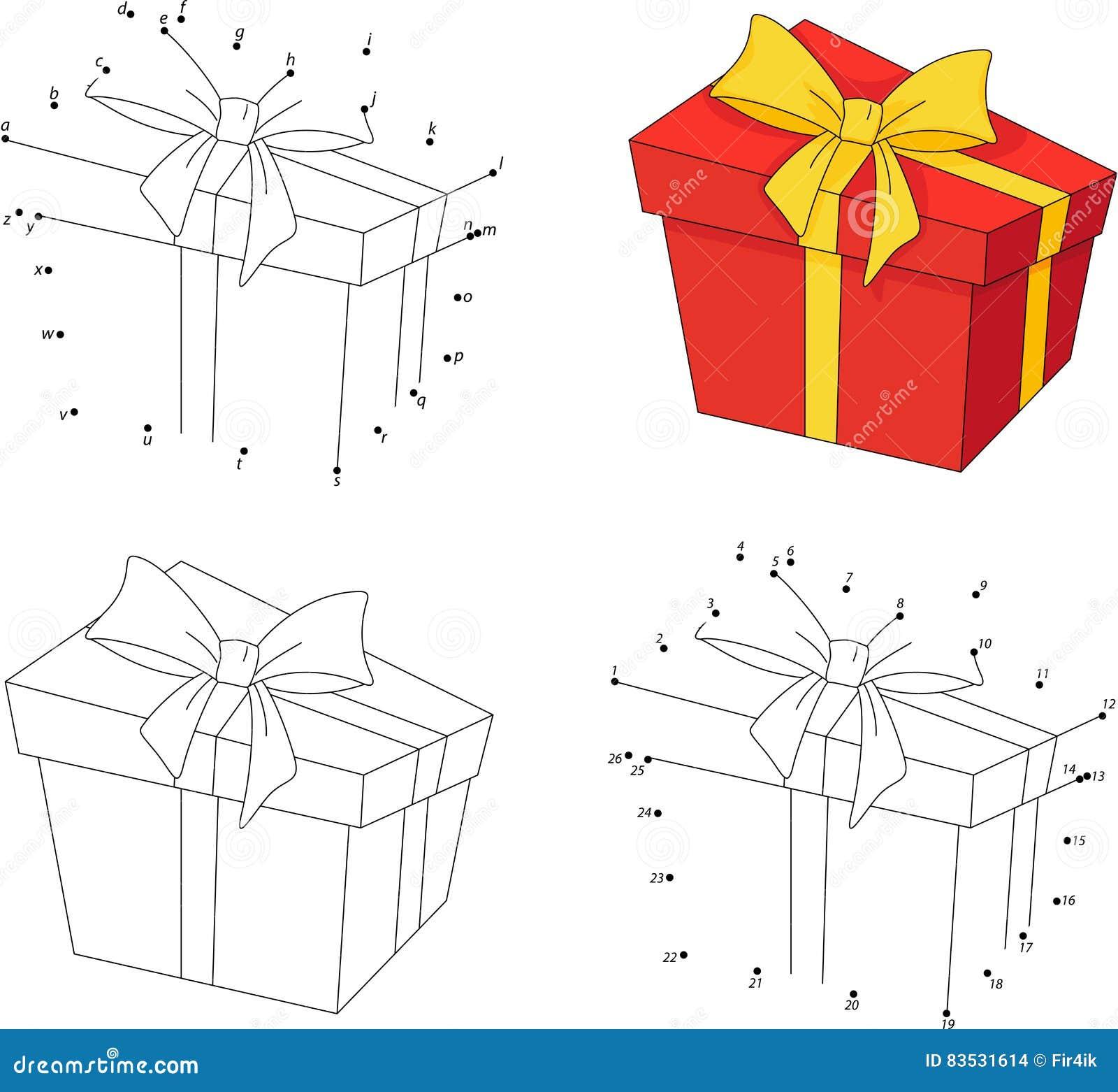 Cadeau De Noel Dans Une Boite Livre De Coloriage Et Point Pour