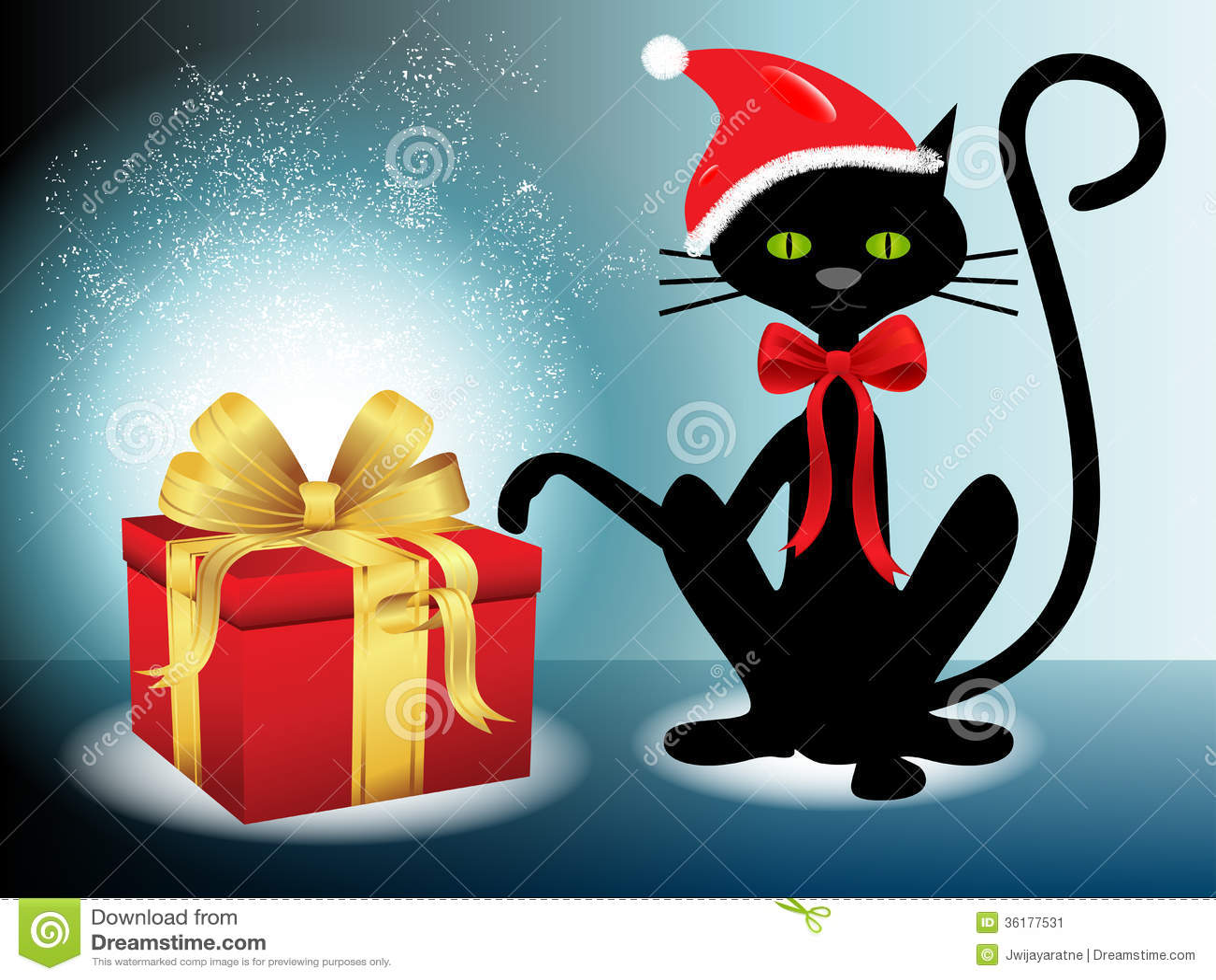 cadeau de no l avec le chat noir santa image stock image 36177531. Black Bedroom Furniture Sets. Home Design Ideas