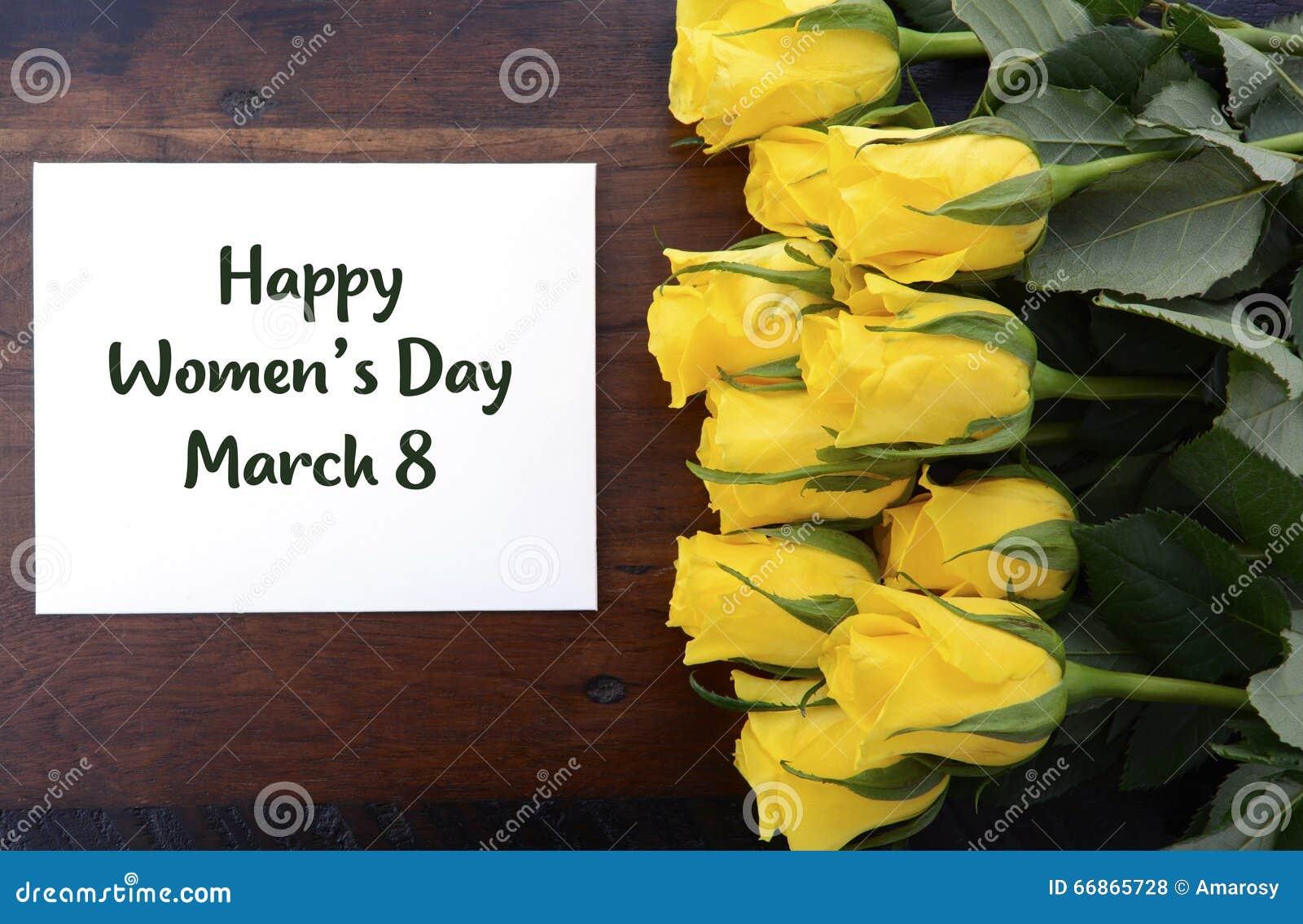 Cadeau de roses jaunes du jour des femmes internationales