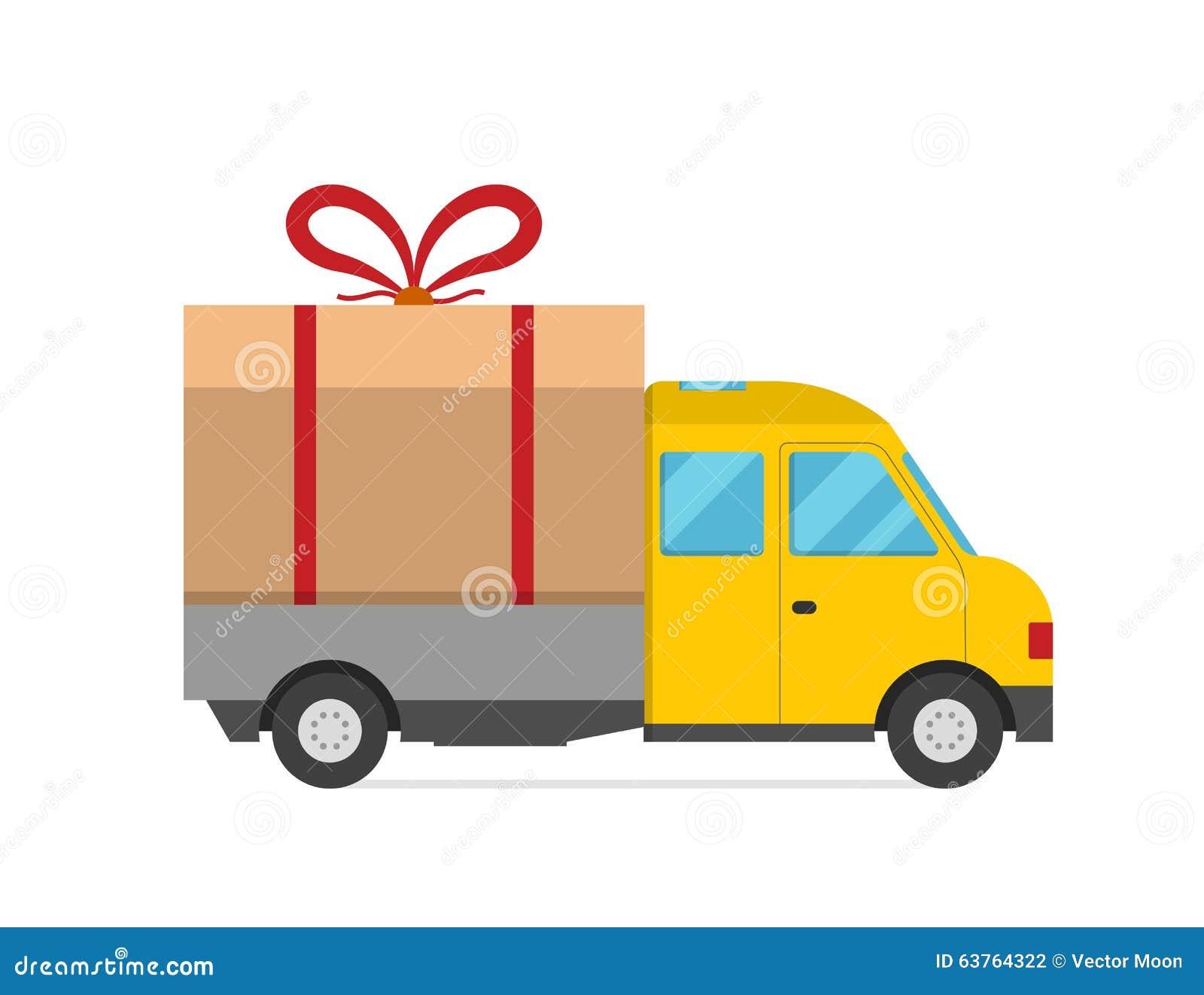 cadeau de van christmas de camion de transport de vecteur de la livraison illustration de. Black Bedroom Furniture Sets. Home Design Ideas