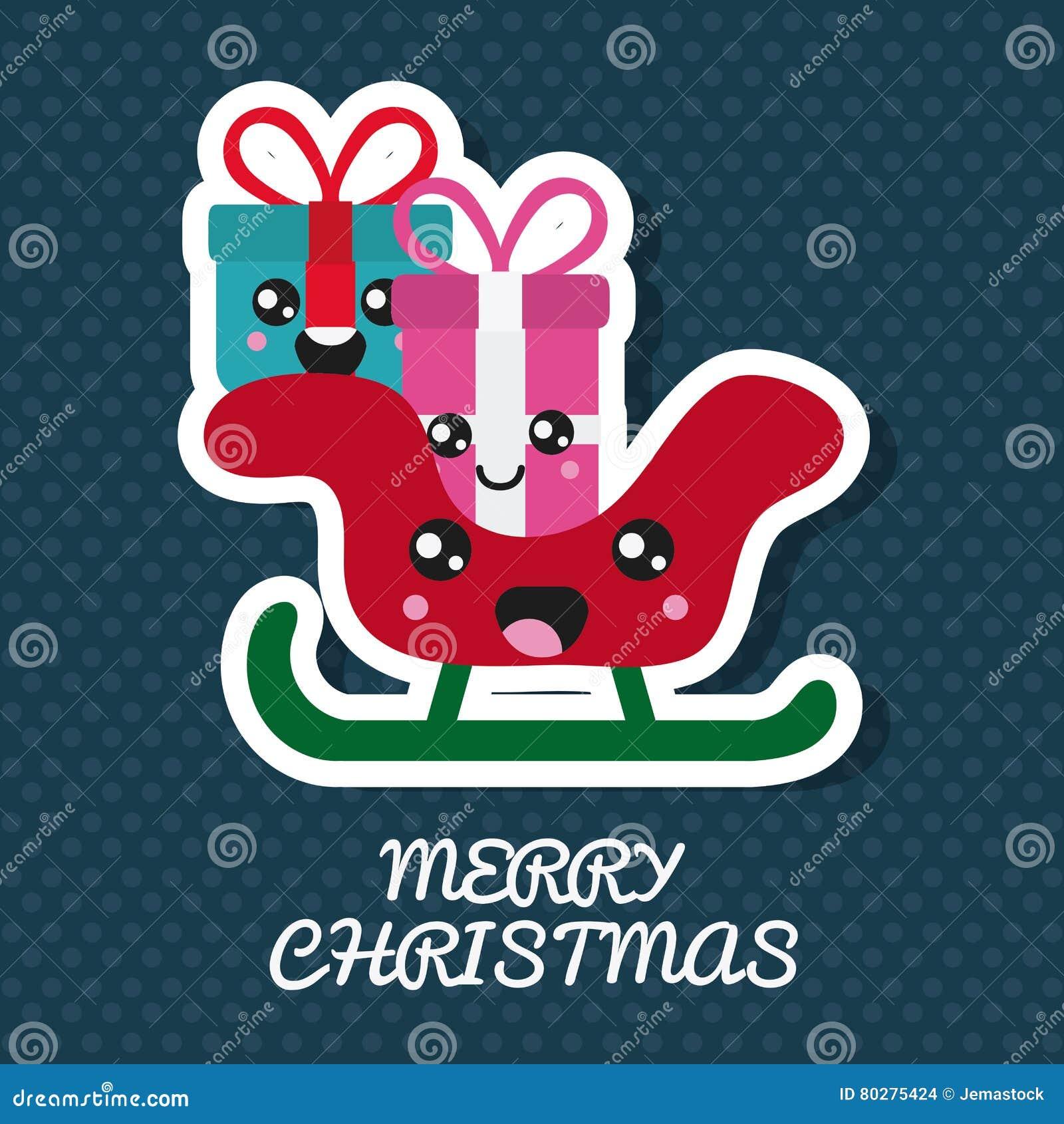 Cadeau Et Traîneau De Kawaii Conception De Joyeux Noël