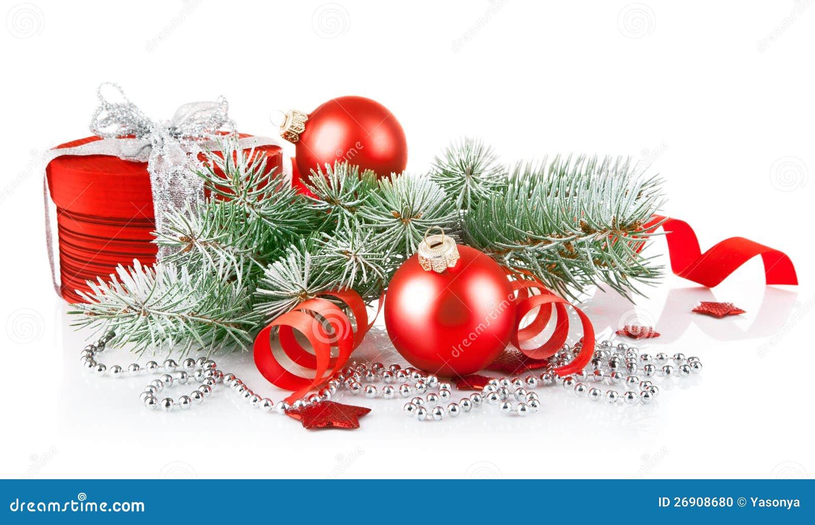 Cadeau rouge de no l avec le sapin de branchement photo stock image 26908680 - Sapin avec cadeaux ...