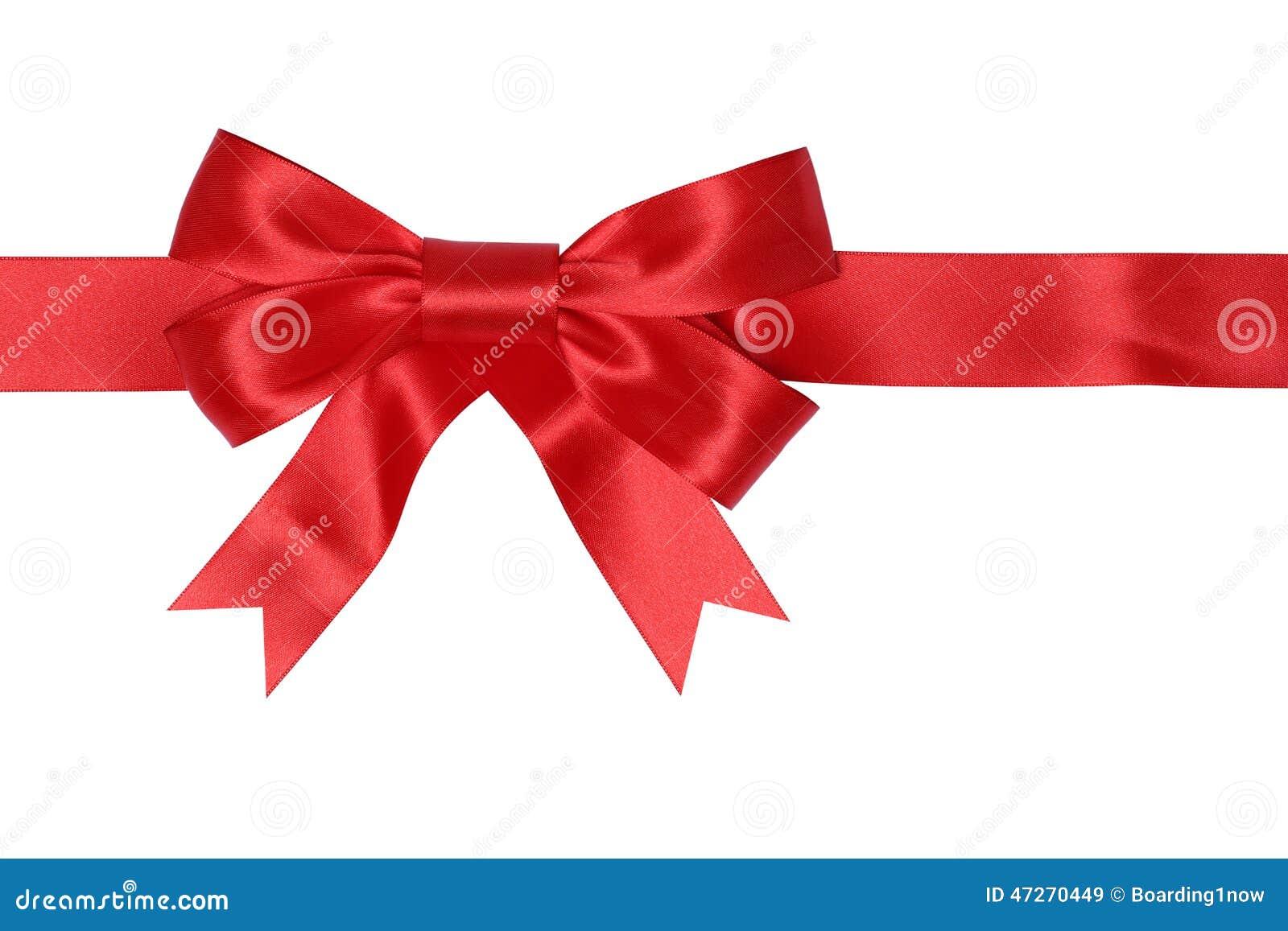 Cadeau rouge de ruban avec l arc pour des cadeaux sur Noël ou les valentines DA