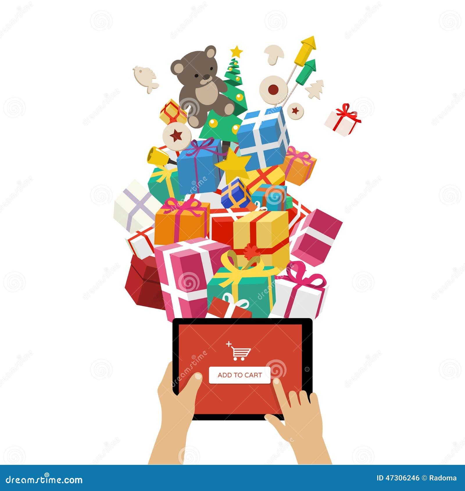 Cadeaux De Commande De Noël En Ligne Illustration de Vecteur
