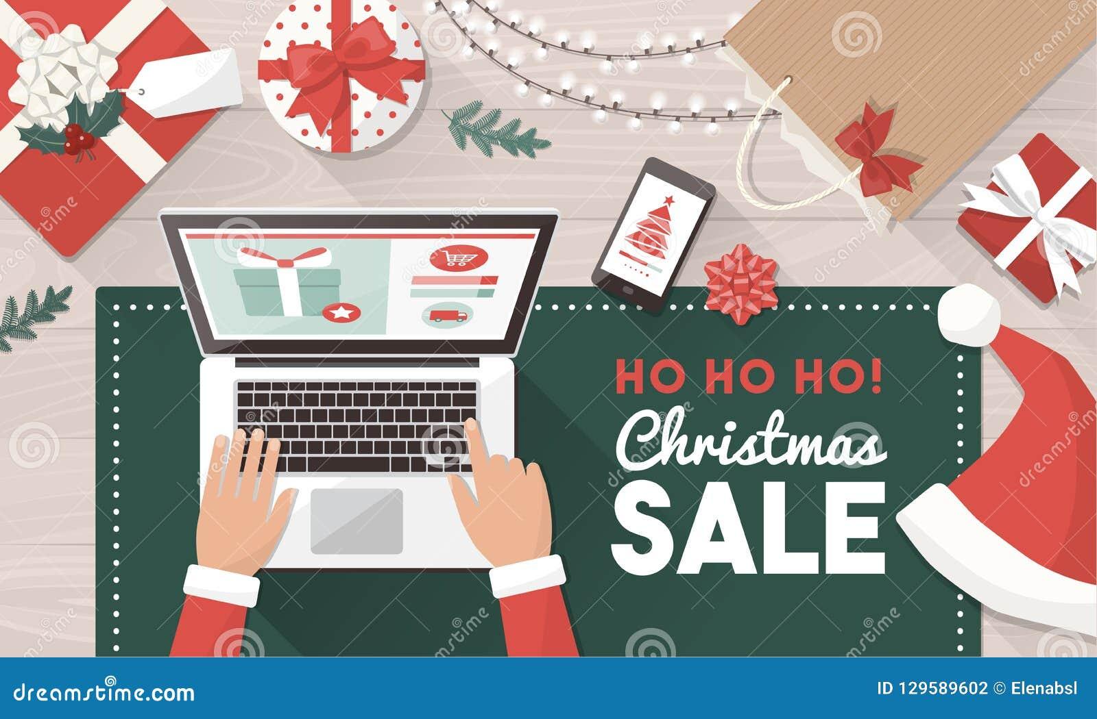 Cadeaux De Commande De Noël De Santa En Ligne Illustration de