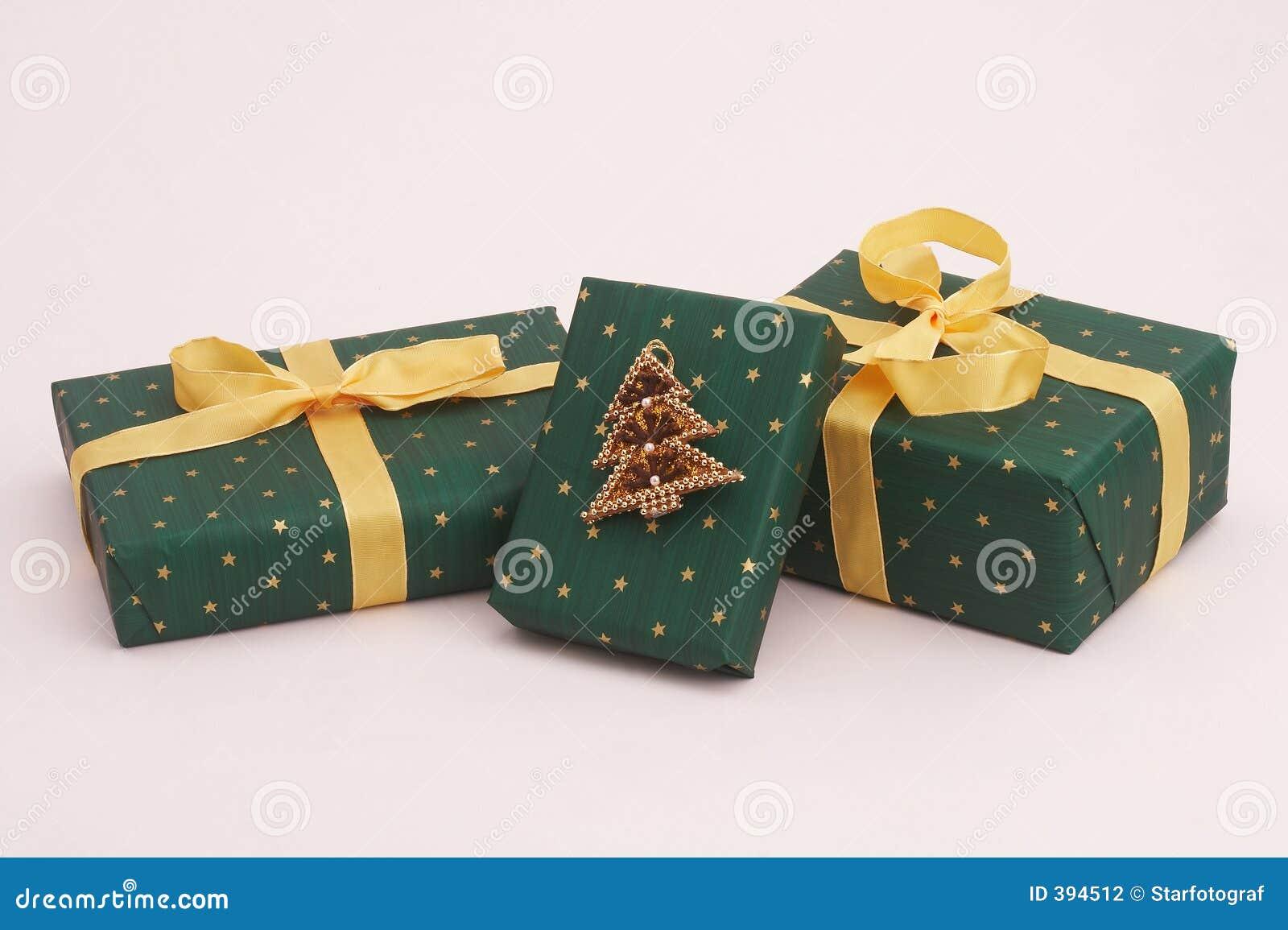 Cadeaux verts de Noël