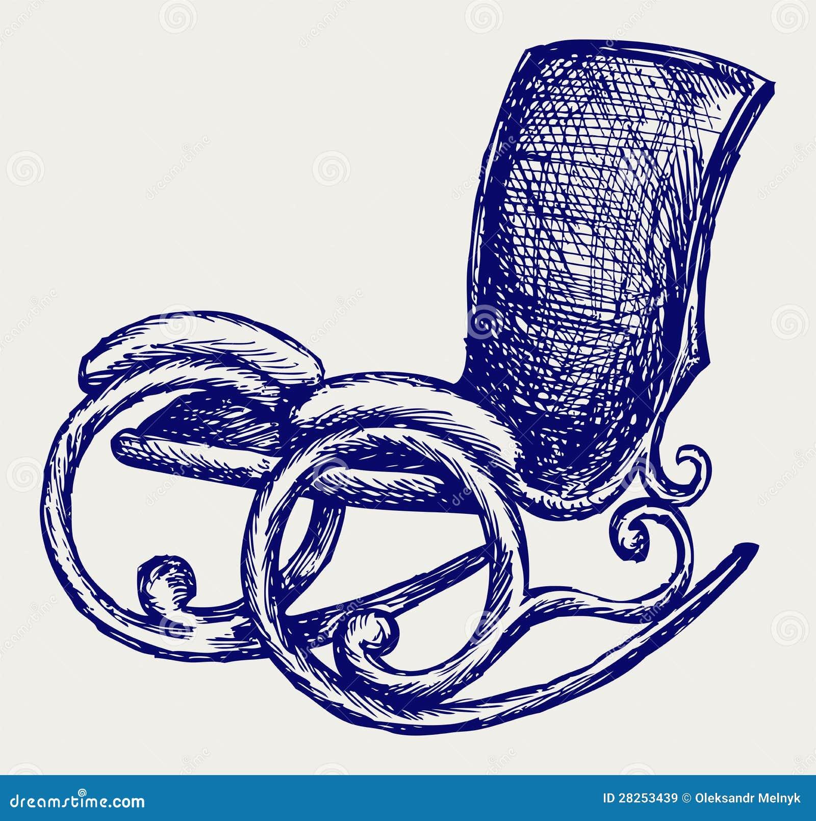Cadeira de balanço. Estilo do Doodle. Esboço do vetor. #000053 1300x1324