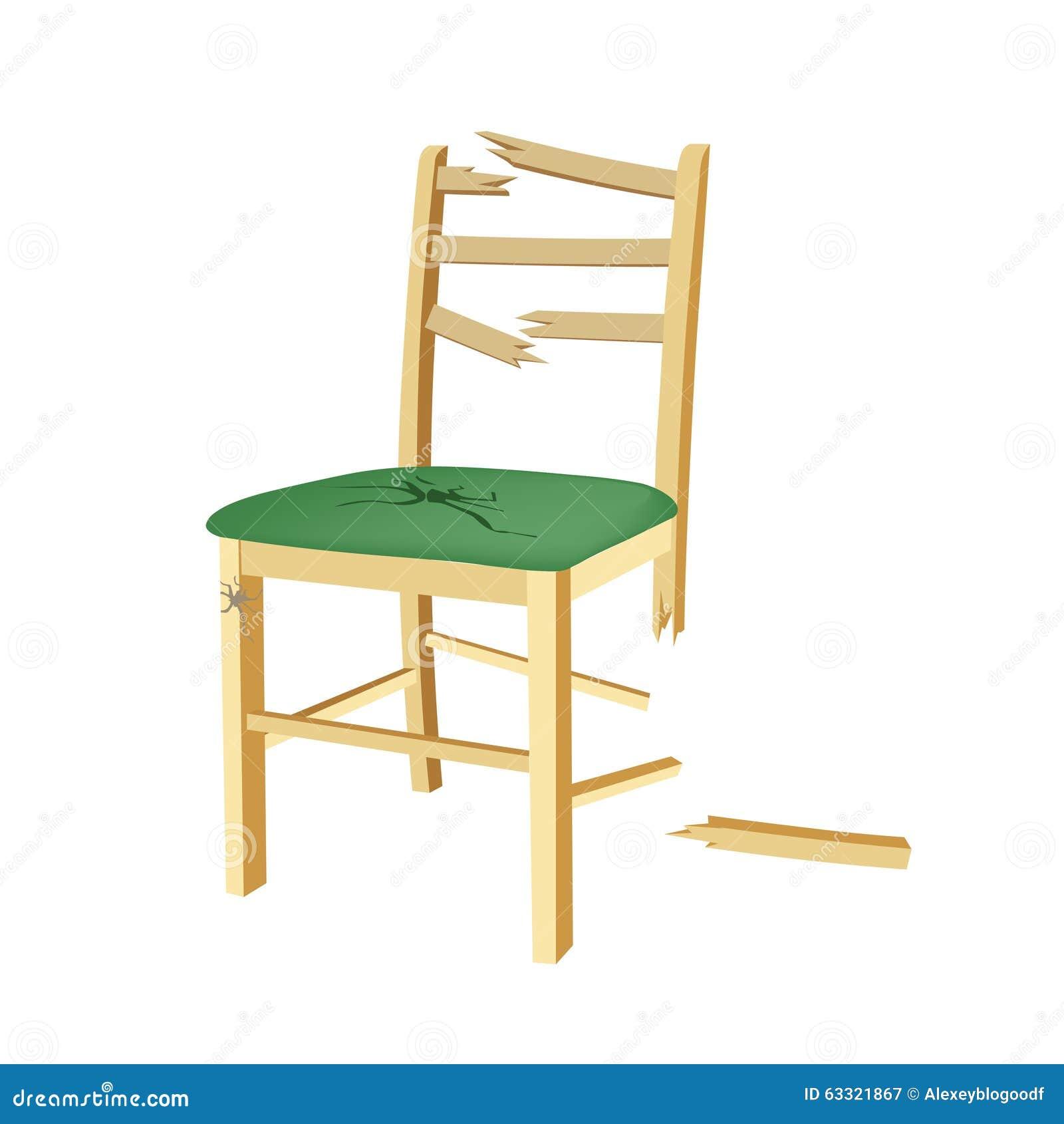 Cadeira de madeira quebrada com assento verde