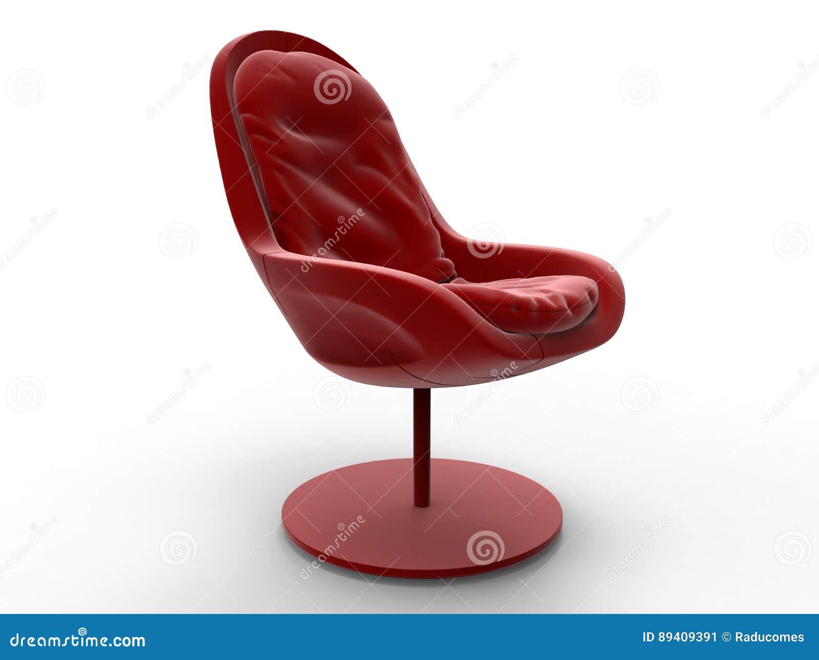 Cadeira de sala de estar de couro vermelha