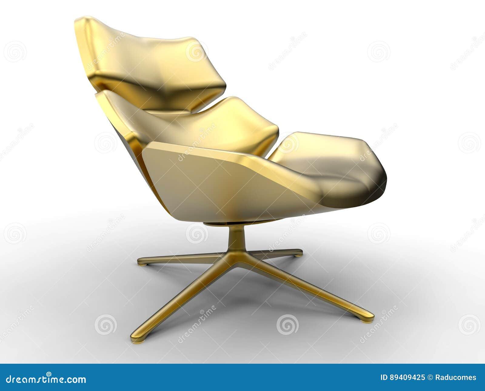 Cadeira de sala de estar dourada