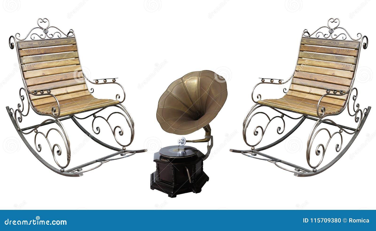 Cadeira do metall e gramofone roching forjados bonitos rec do vintage