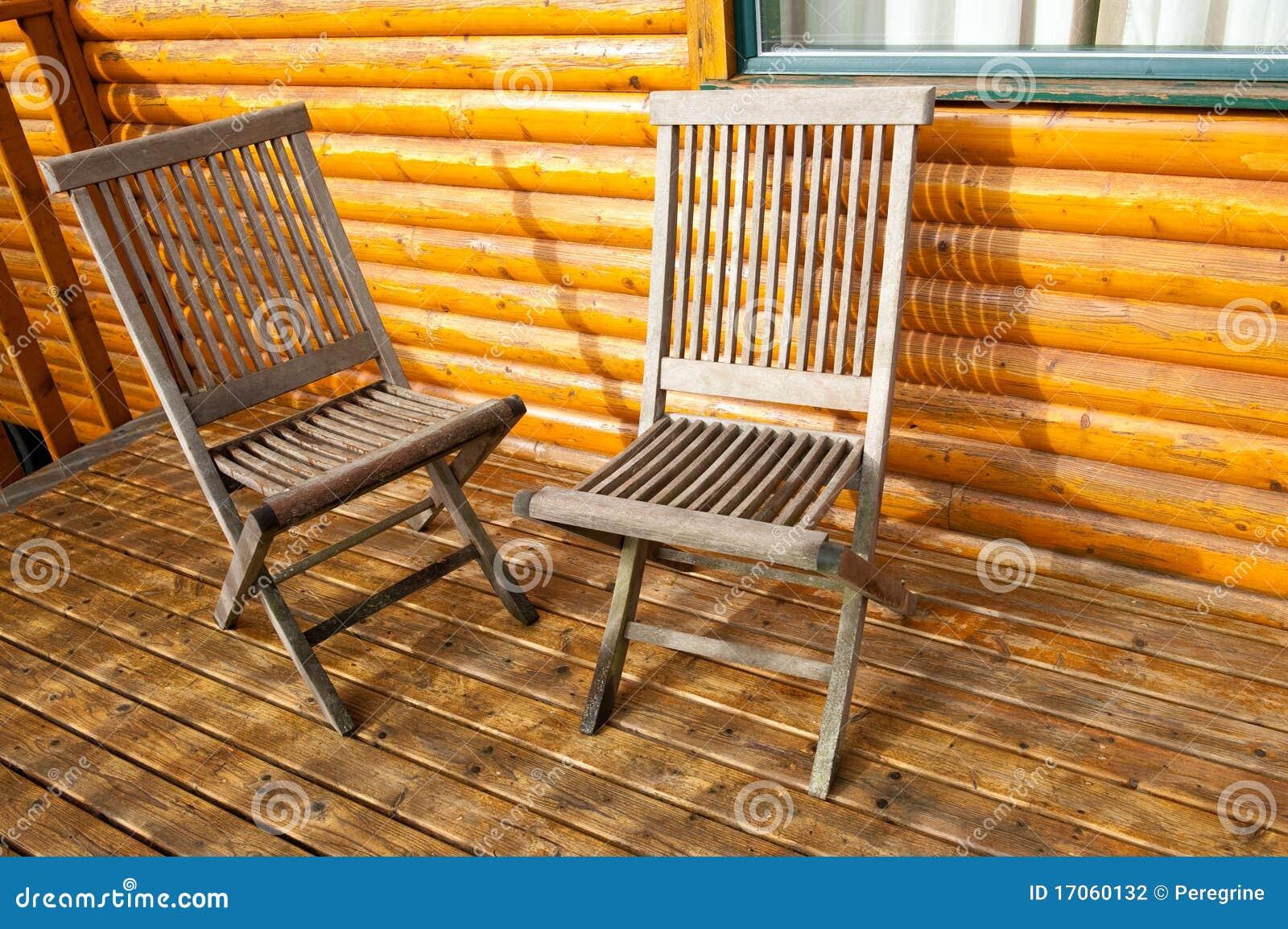 Cadeira Dois De Madeira Na Varanda Fotografia de Stock Imagem  #B35102 1300x955