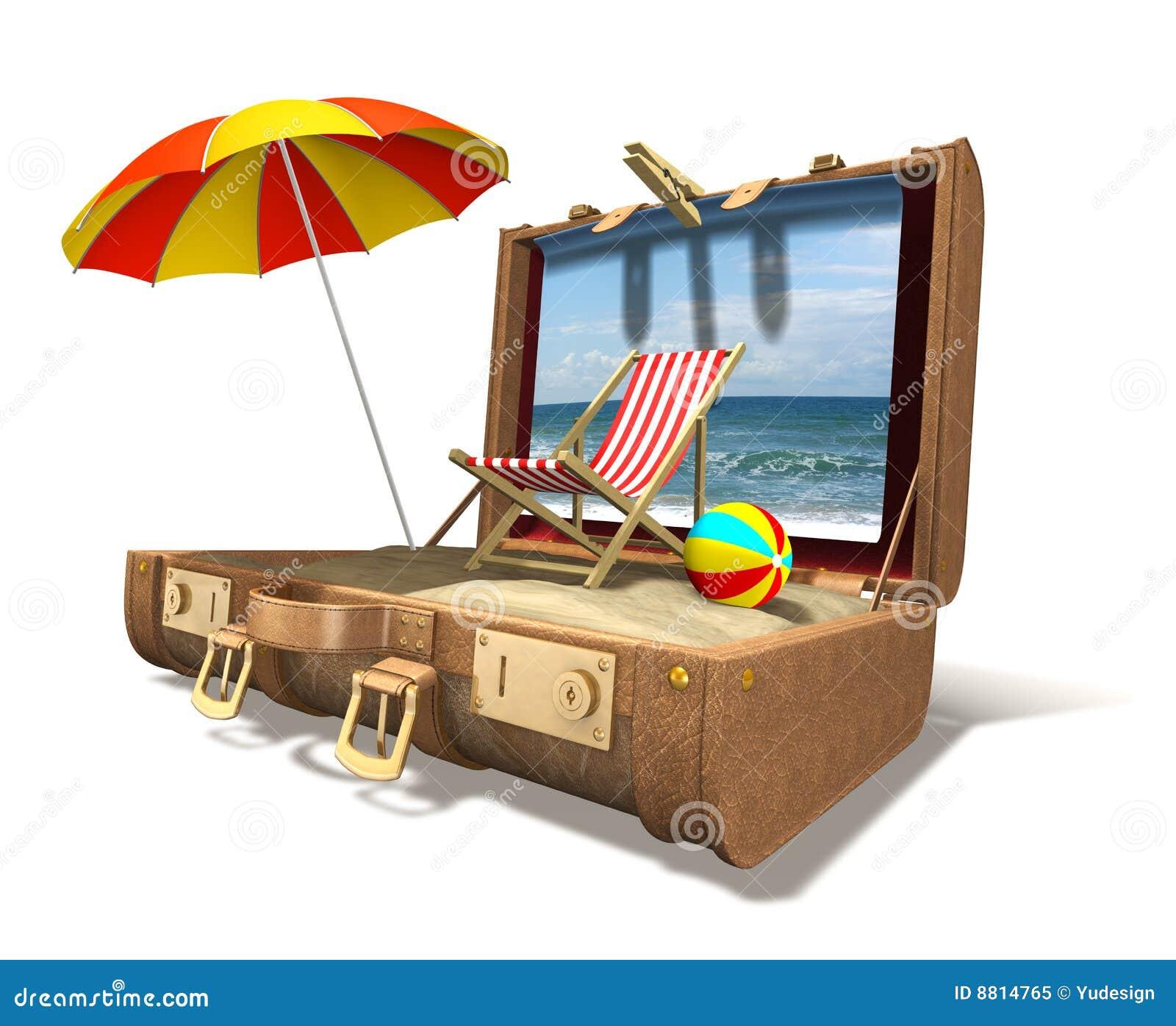 Cadeira, guarda-chuva e areia de praia na mala de viagem grande