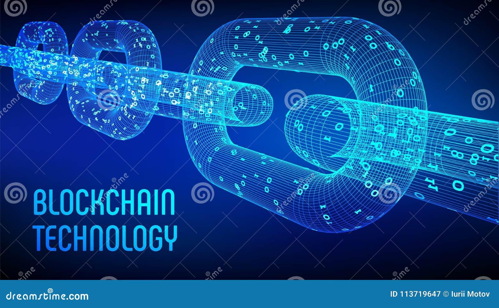 Cadena de bloque Moneda Crypto Concepto de Blockchain cadena del wireframe 3D con código digital Plantilla Editable de Cryptocurr