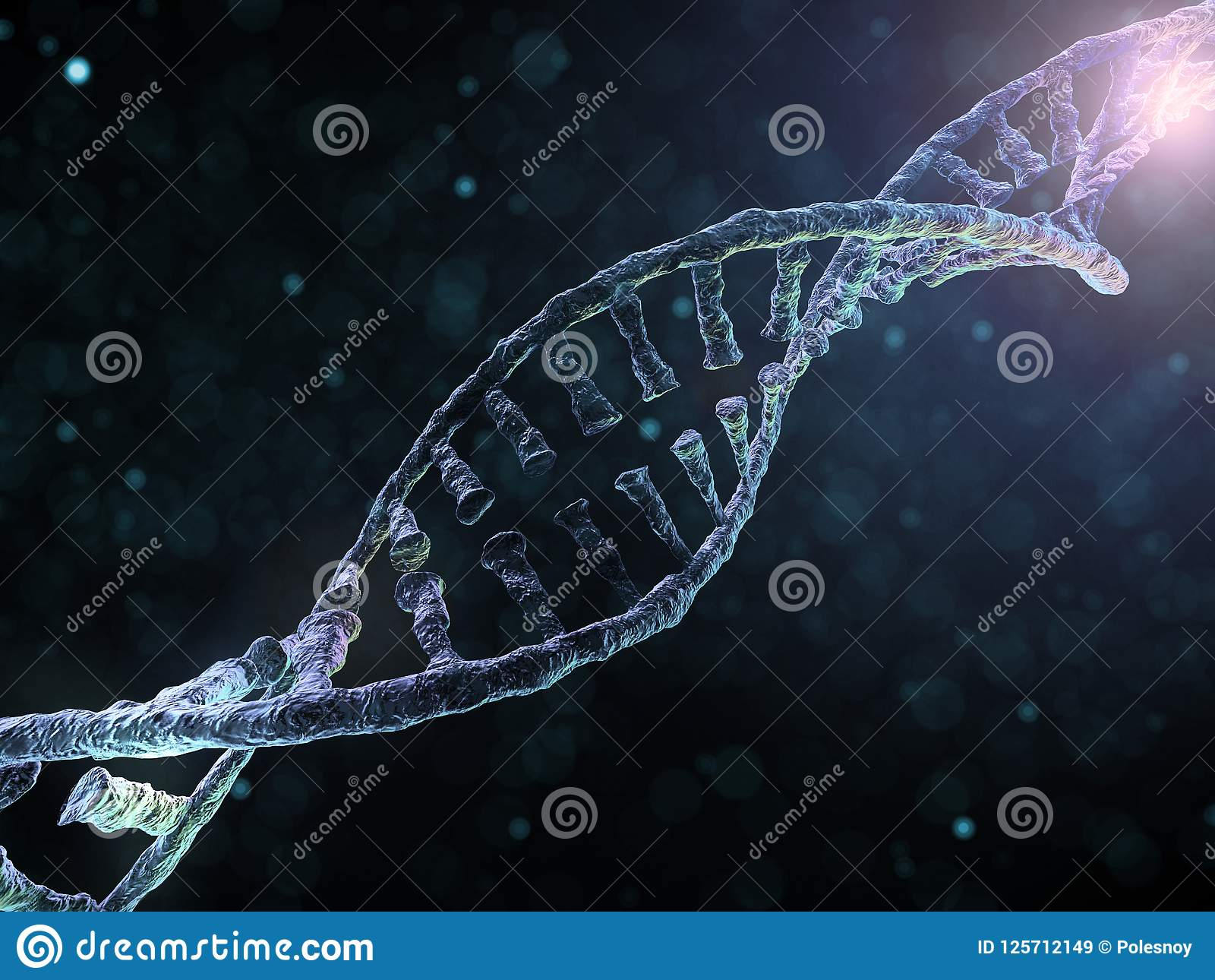 Cadena de la DNA Fondo científico abstracto representación 3d