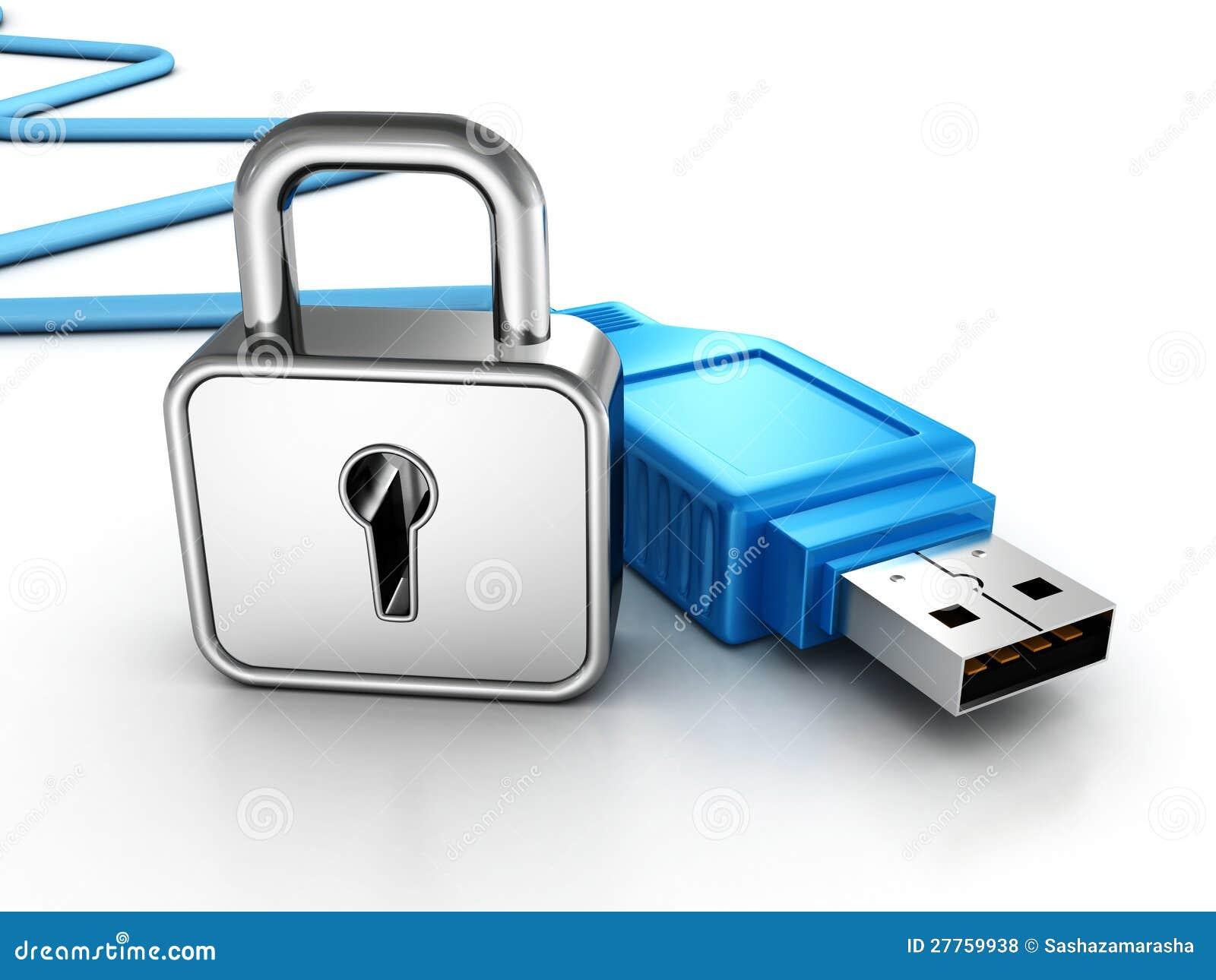 Cadenas argenté et câble bleu de connexion d USB
