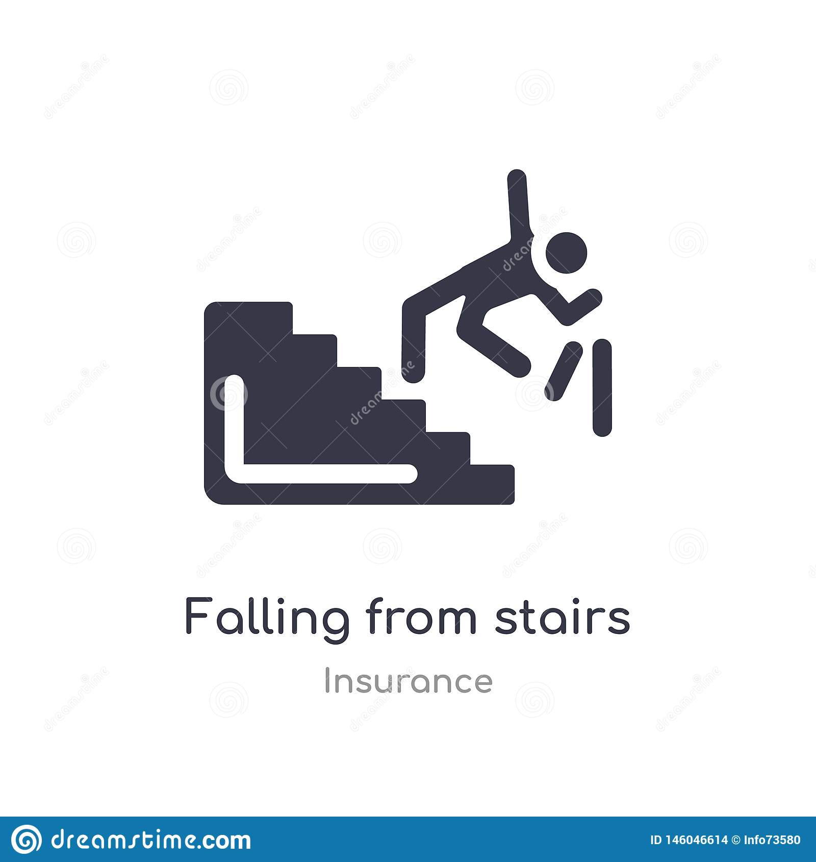Cadendo dall icona delle scale caduta isolata dall illustrazione di vettore dell icona delle scale dalla raccolta di assicurazion