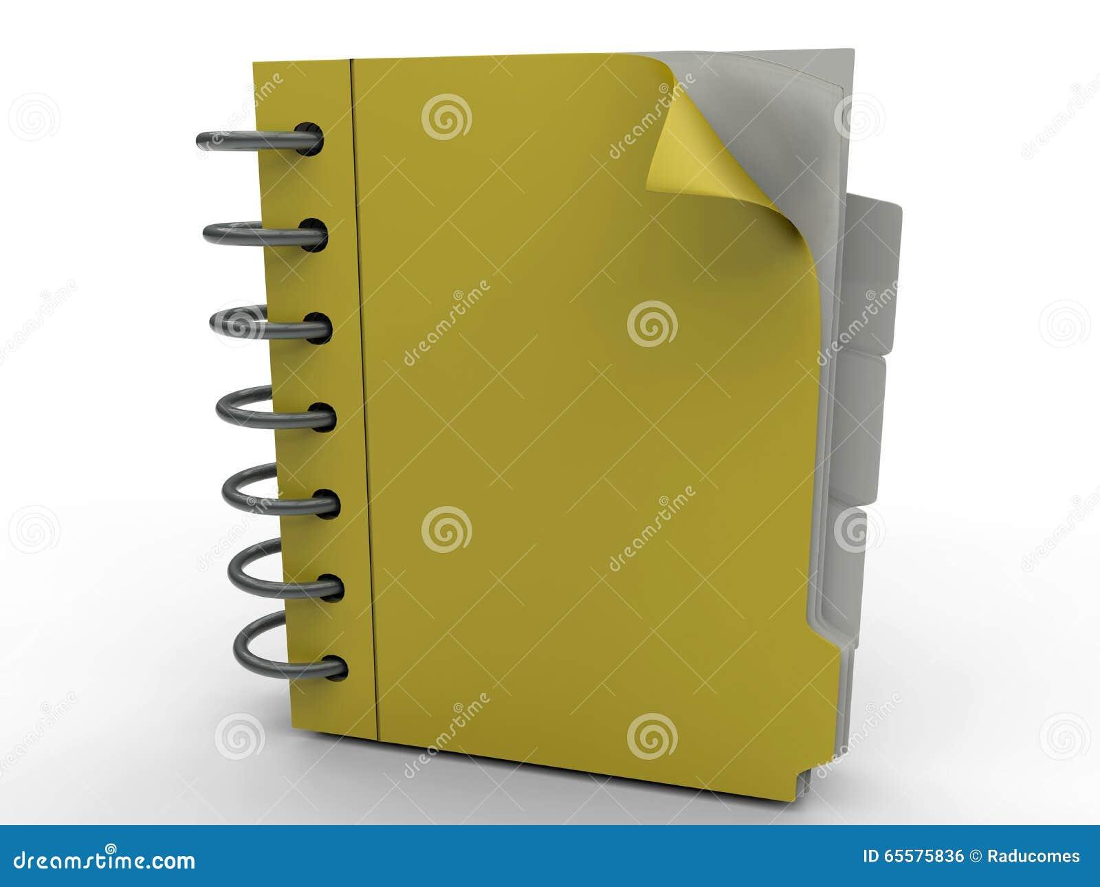 Caderno amarelo do escritório