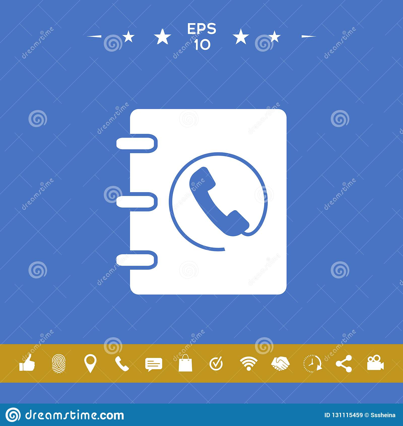 Caderno, endereço, ícone da lista telefônica com símbolo do monofone
