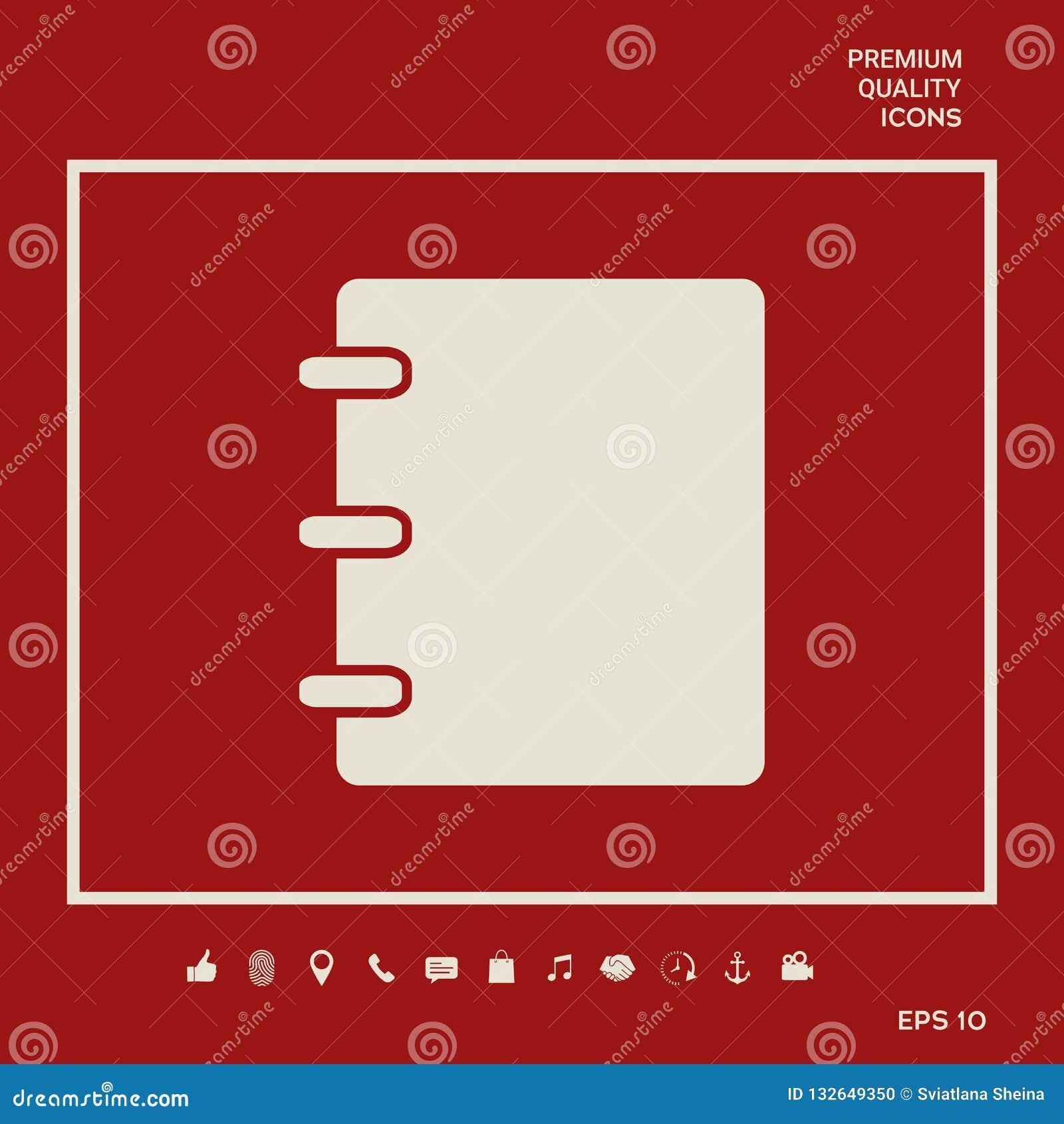 Caderno, endereço, ícone da lista telefônica com tampa vazia Elementos gráficos para seu projeto
