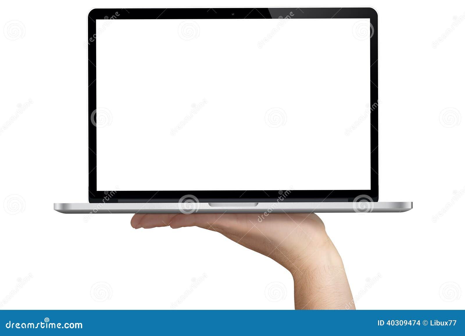 Caderno mão aberta Whitespace isolado