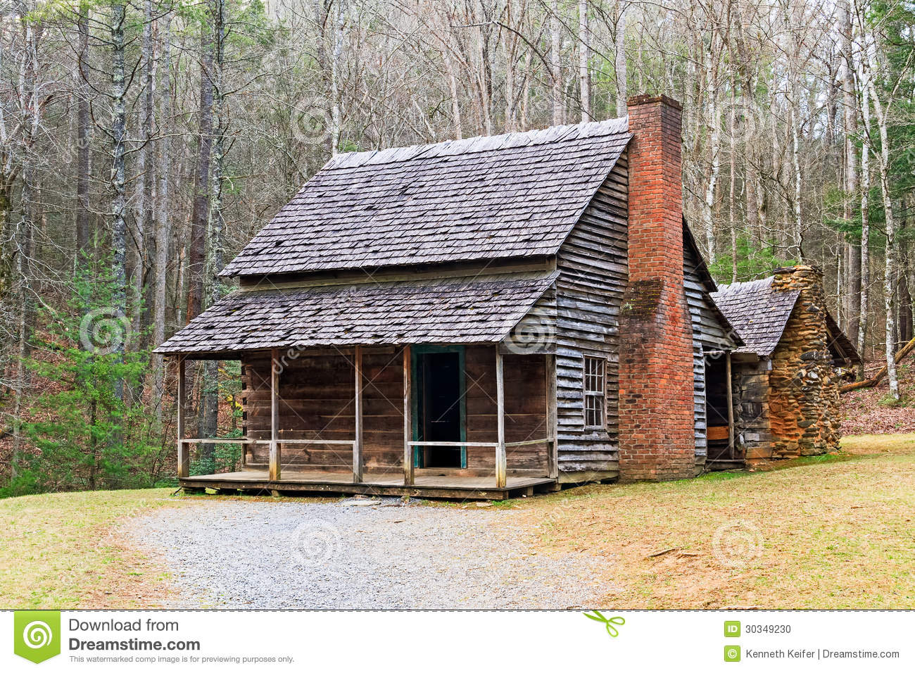 Cades cove cabin stock photo image of park places for Privately owned cabins in the smoky mountains